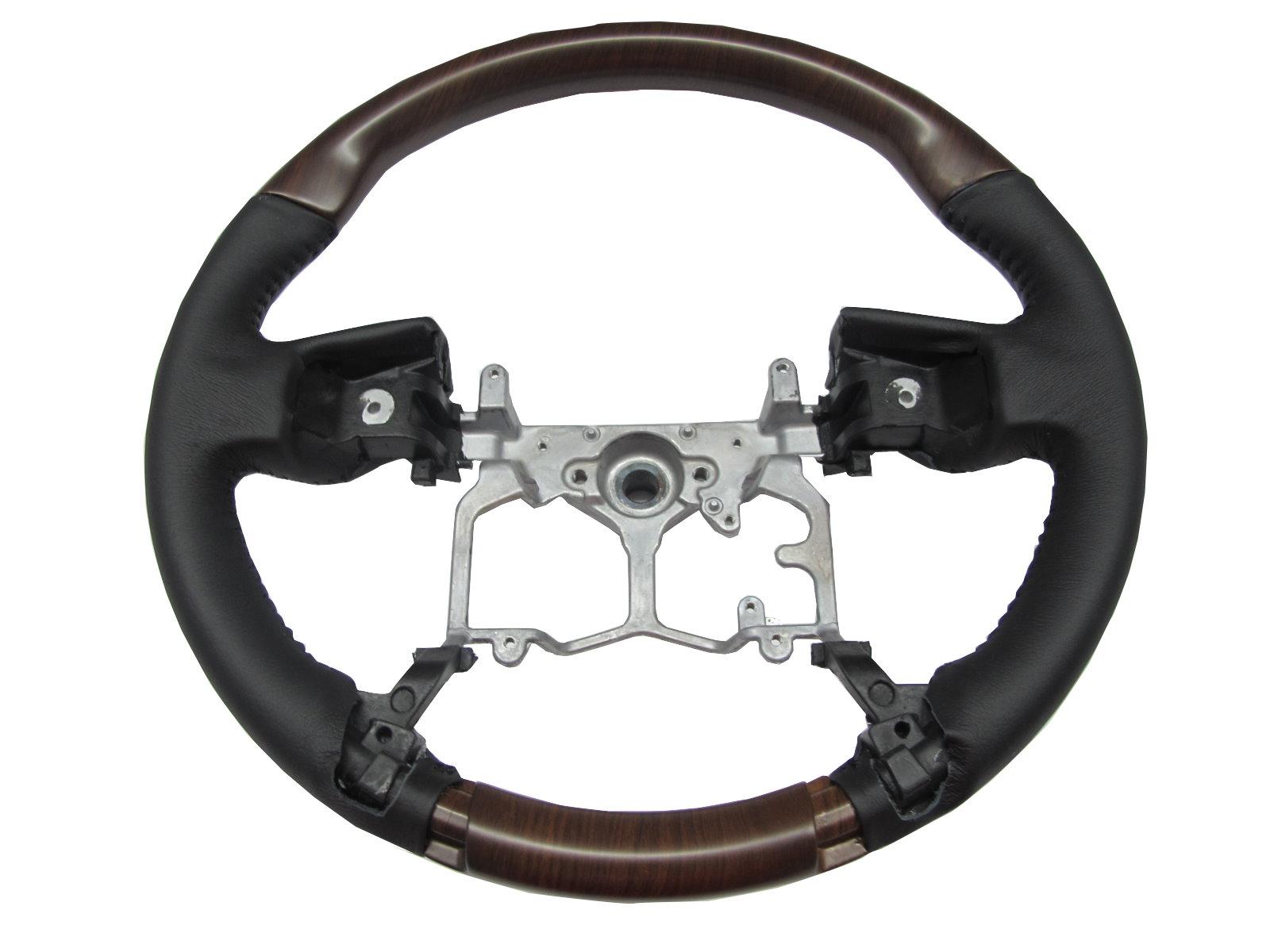 gx460 2009 2014 steering wheel oe walnut wood black for. Black Bedroom Furniture Sets. Home Design Ideas