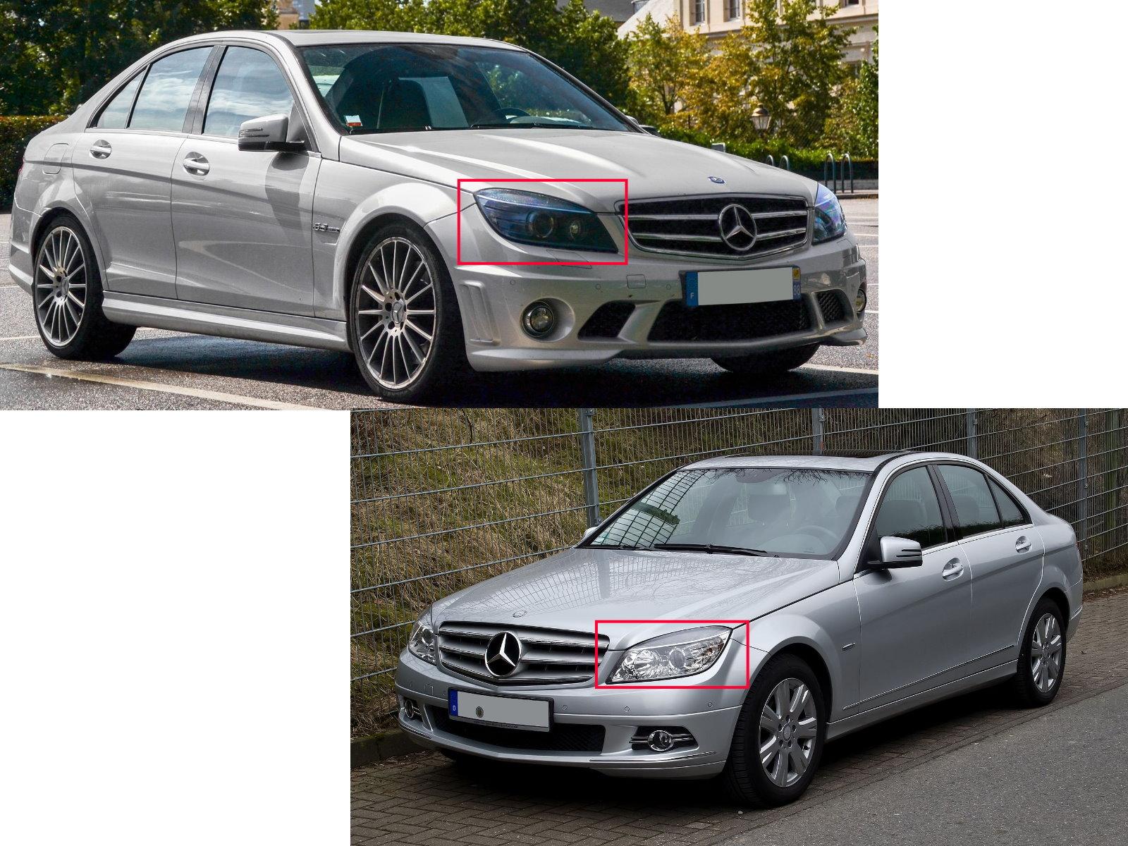 Details about W204 08-11 PRE-FACELIFT Cotton LED Angel-Eye Headlight BK for  Mercedes-Benz RHD