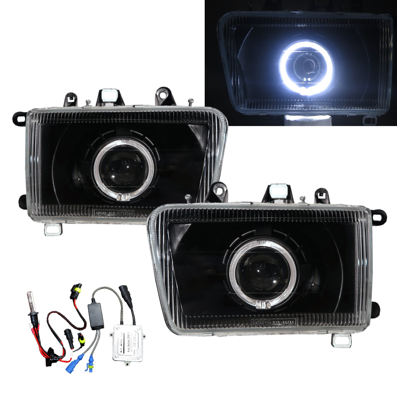 Safe 02-03 Wagon Guide LED Angel-Eye Projector Headlight BK for Great Wall LHD