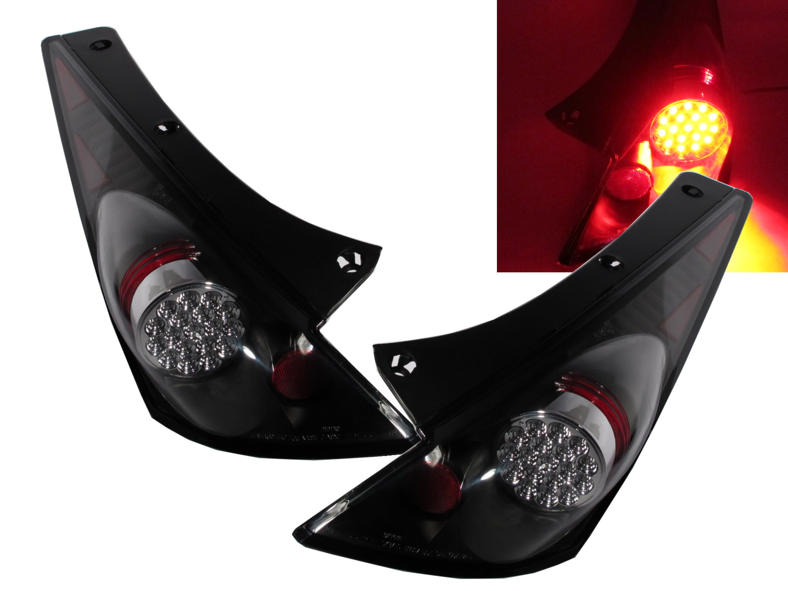 DEPO Black LED Tail Lights Pair FIT FOR 2003 2004 2005 Nissan 350Z Z33 Z NEW