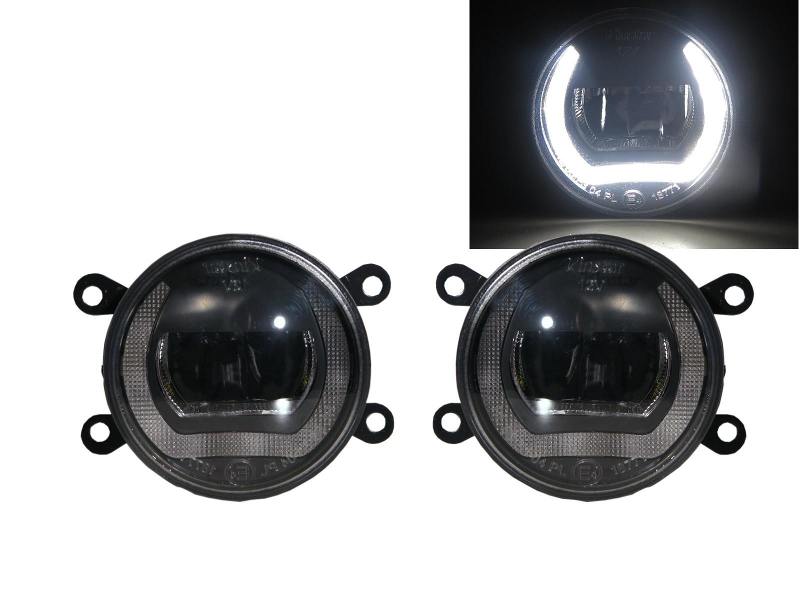 CrazyTheGod SOLENZO 2003-2005 Hatchback 4D DRL Ubar LED Glass Fog Light Lamp Black for DACIA