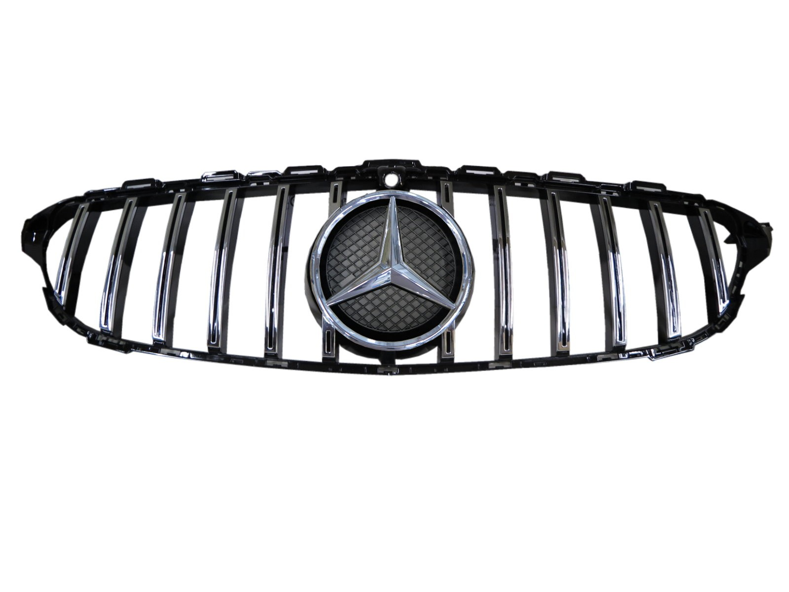 CrazyTheGod C-CLASS W205 2014-2018 Pre-Facelift Sedan 4D Star Emblem W/ Camera Hole GRILLE/GRILL Chrome for Mercedes-Benz