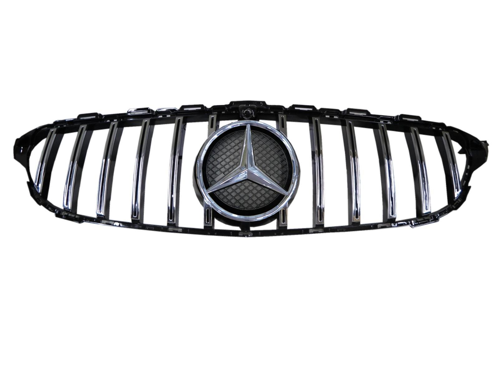 CrazyTheGod C-CLASS W205 2014-2018 Pre-Facelift Sedan 4D Star Emblem GRILLE/GRILL Chrome for Mercedes-Benz