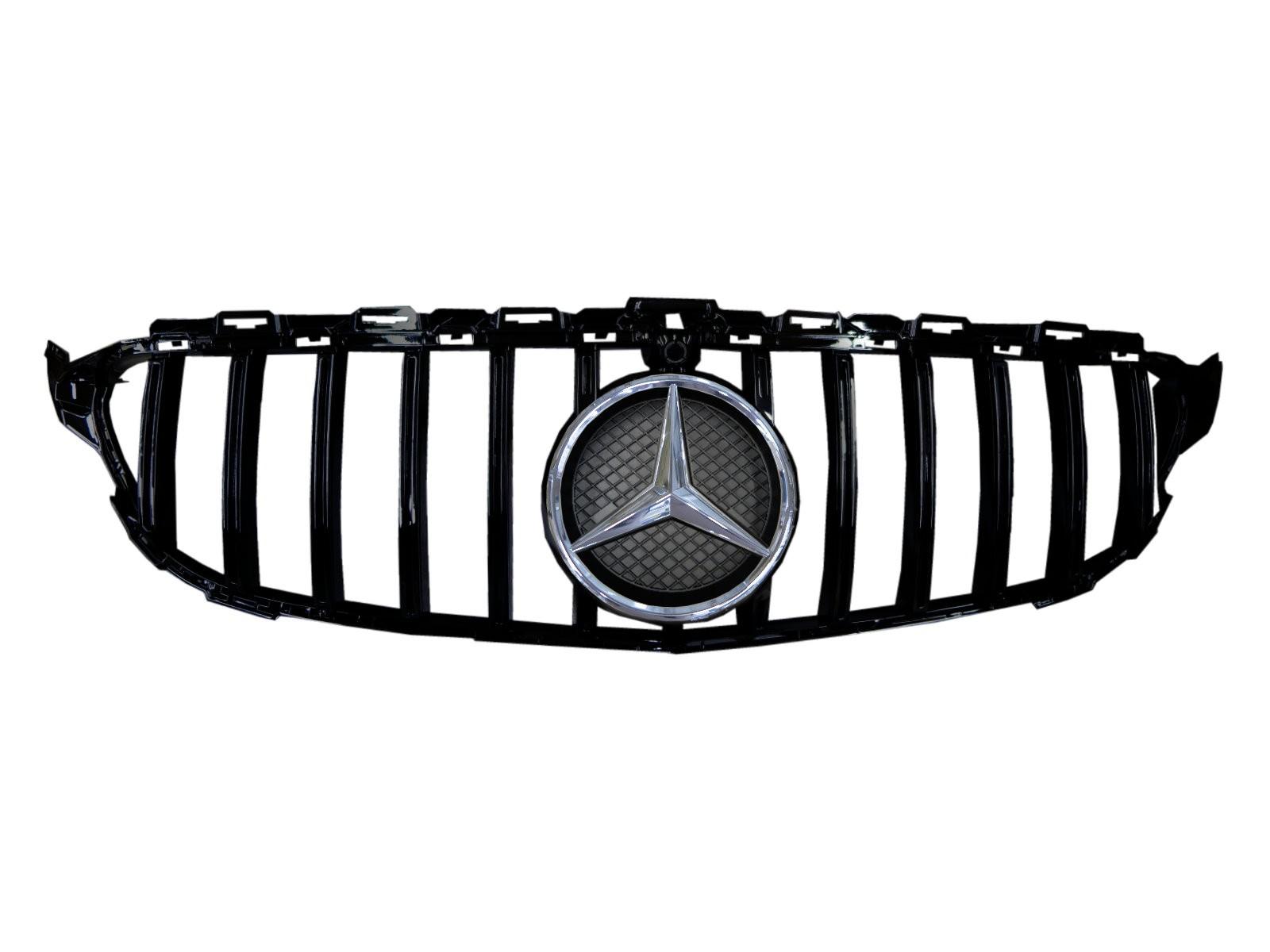 CrazyTheGod C-CLASS W205 2014-2018 Pre-Facelift Sedan 4D Star Emblem GRILLE/GRILL Gloss Black for Mercedes-Benz