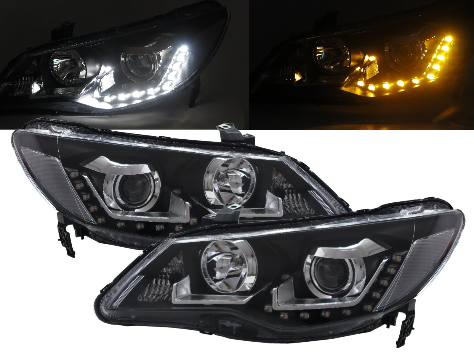 CrazyTheGod CSX 2005-2011 Sedan 4D LED Bar Projector Halogen Headlight Headlamp Black for ACURA LHD
