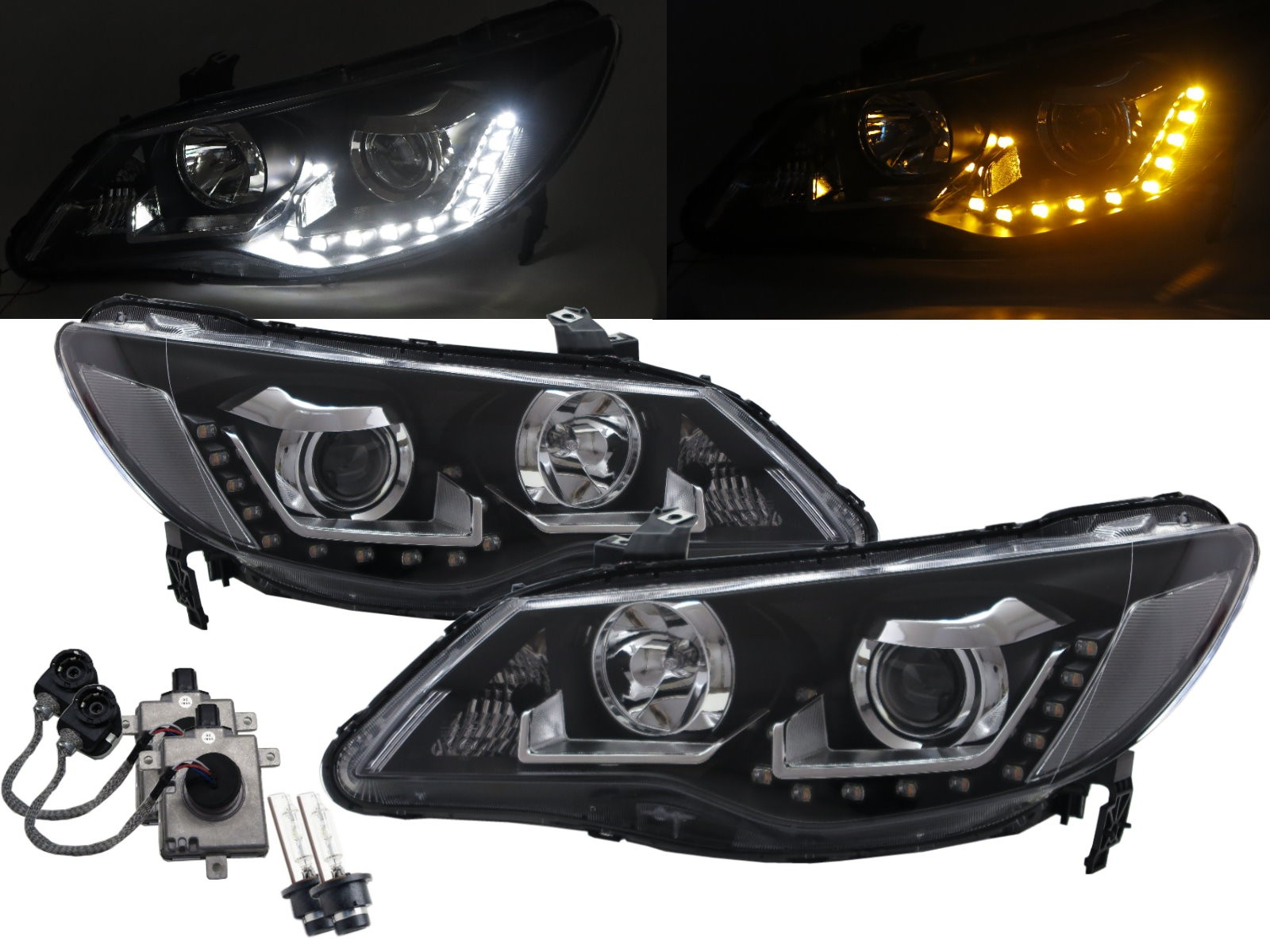CrazyTheGod CSX 2005-2011 Sedan 4D LED Bar Projector D2S Bulb W/S Ballast Headlight Headlamp Black for ACURA RHD