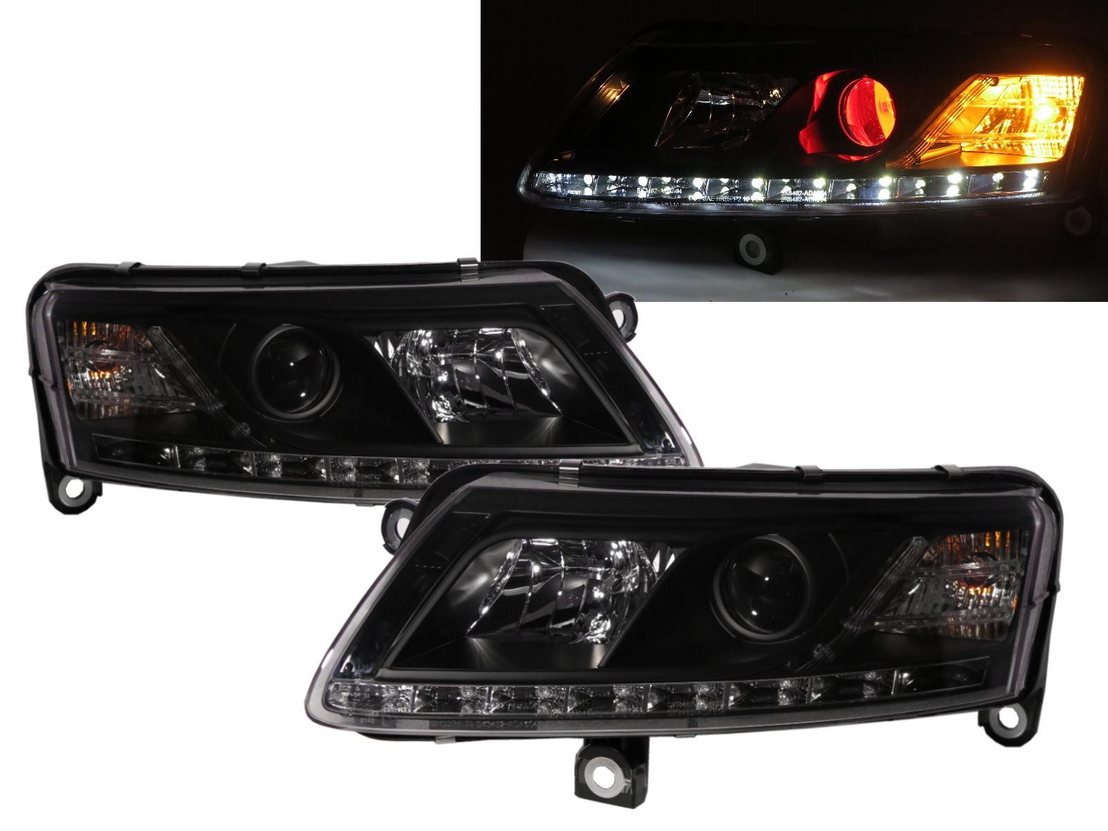 CrazyTheGod A6 C6 4F Third generation 2004-2008 Sedan/Wagon 4D/5D R8Look Devil Eye Halogen Headlight Headlamp Black for AUDI RHD