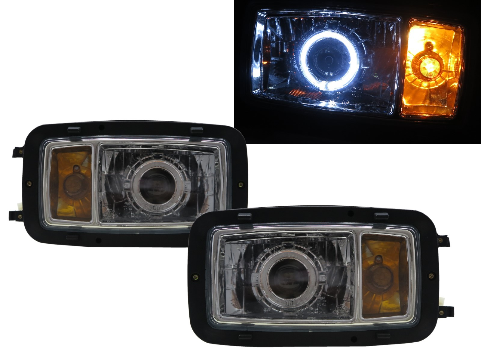 CrazyTheGod TRUCK-NG NG80 1980-1991 Truck 2D Guide LED Angel-Eye Projector HID Headlight Headlamp Chrome for Mercedes-Benz RHD