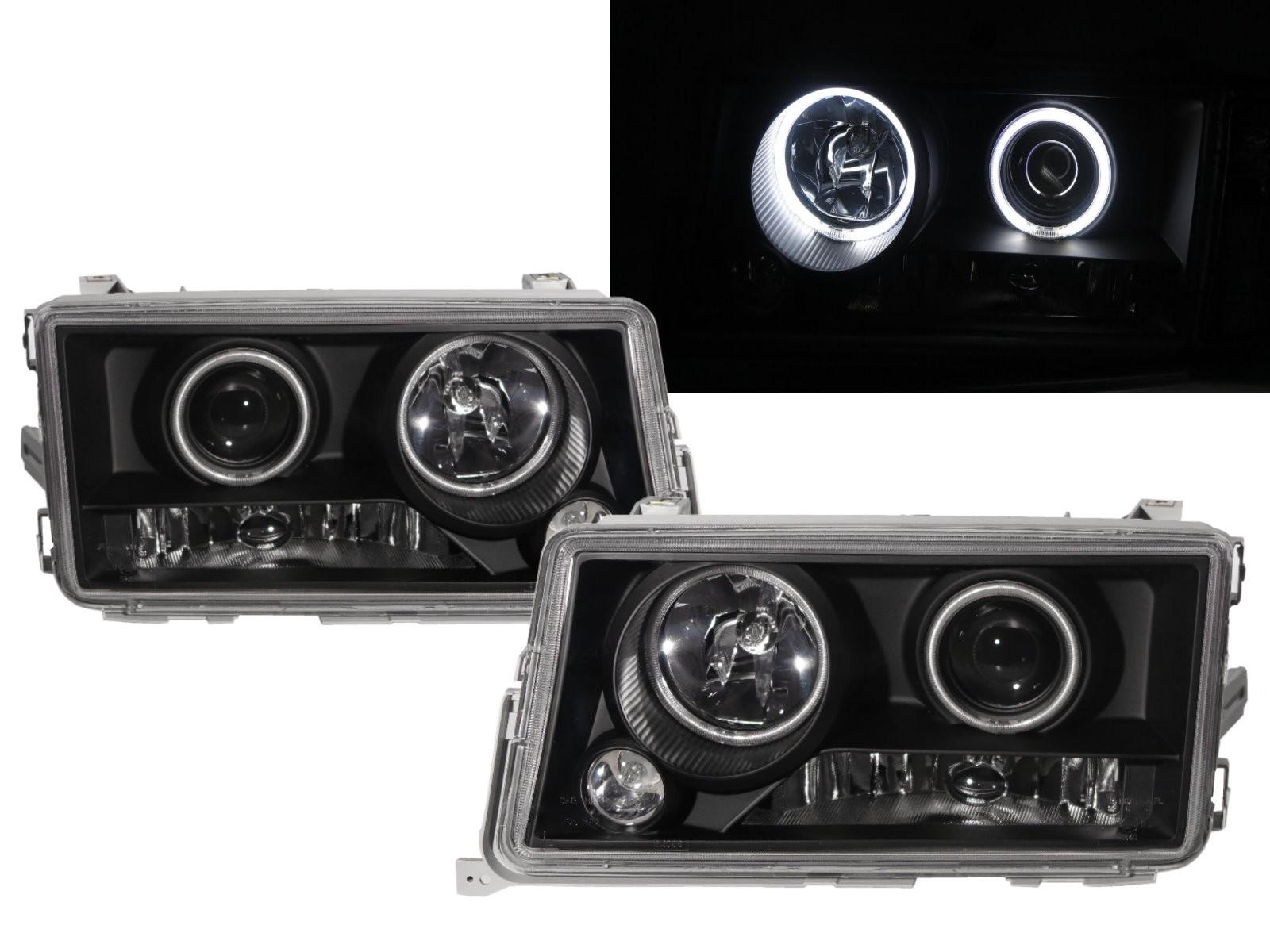 CrazyTheGod C-CLASS W201 190D 190E 1982-1993 Sedan 4D CCFL Projector Headlight Headlamp Black for Mercedes-Benz LHD