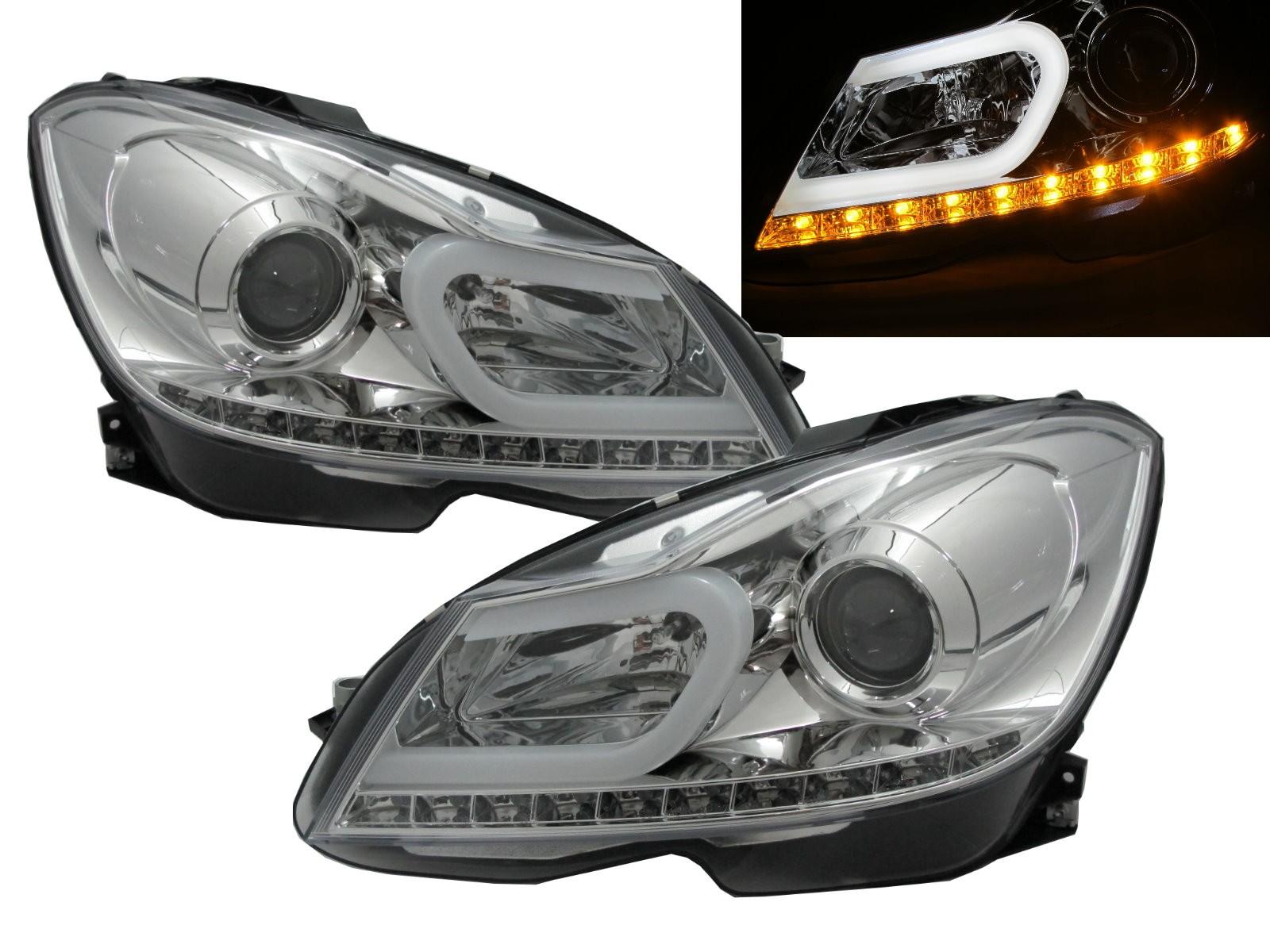 CrazyTheGod C-CLASS W204 2012-2014 FACELIFT Sedan/Wagon/Coupe 2D/4D/5D Projector LED U-Bar Headlight Headlamp Chrome for Mercedes-Benz RHD