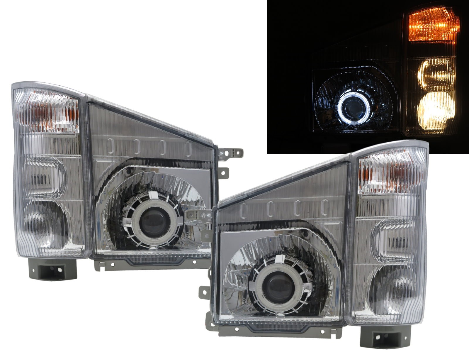 CrazyTheGod ELF 100P N-SERIES NJR85 Sixth generation 2007-present Truck CCFL Projector W/ Corner Lamp Headlight Headlamp Chrome for ISUZU RHD