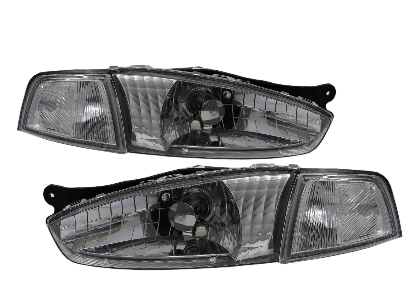 CrazyTheGod Lancer 07/96-07/98 Coupe 2D Clear Headlight Headlamp Chrome for Mitsubishi LHD