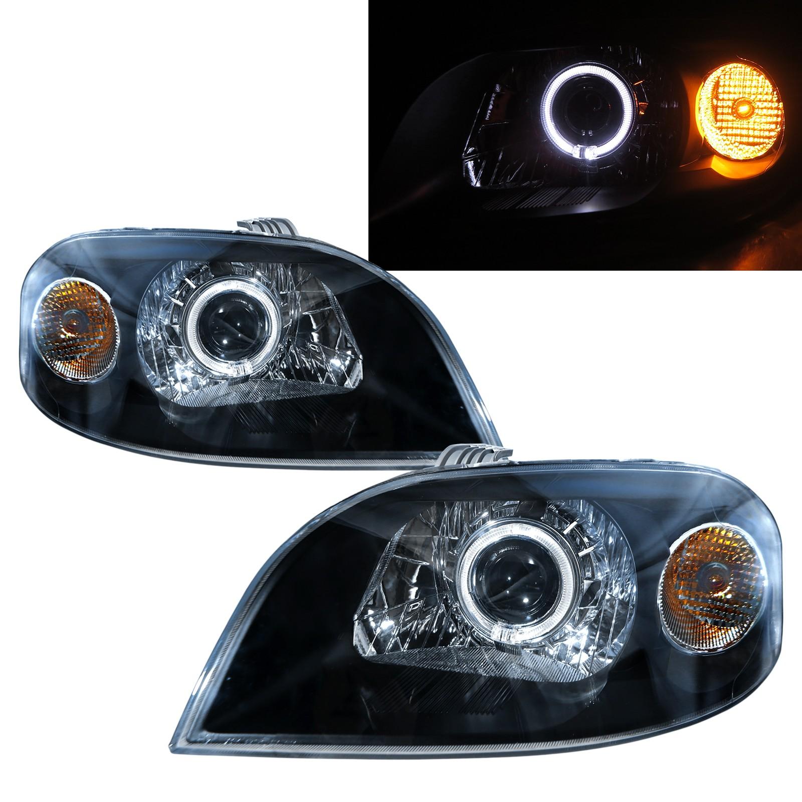 CrazyTheGod Aveo/Gentra 2007-2011 Sedan 4D Guide LED Angel-Eye Projector Headlight Headlamp Black for DAEWOO LHD