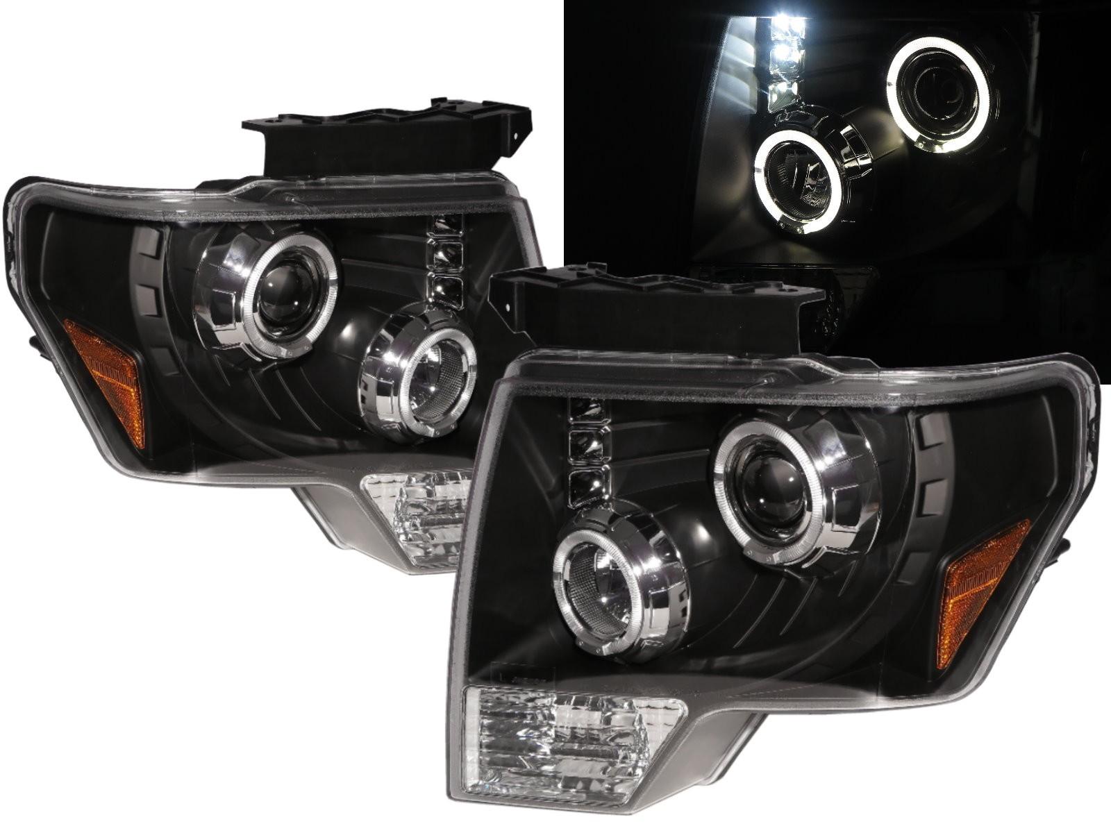 CrazyTheGod F-Series F150 Twelfth generation 2009-2014 Pickup 2D/4D Angel-Eye Projector Headlight Headlamp Black for FORD LHD