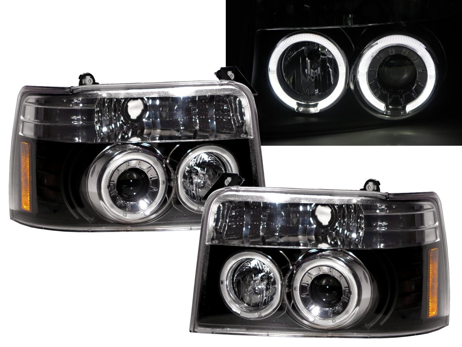 CrazyTheGod F-Series SuperDuty F150 Ninth generation 1992-1996 Angel-Eye Projector Headlight Headlamp Black for FORD LHD
