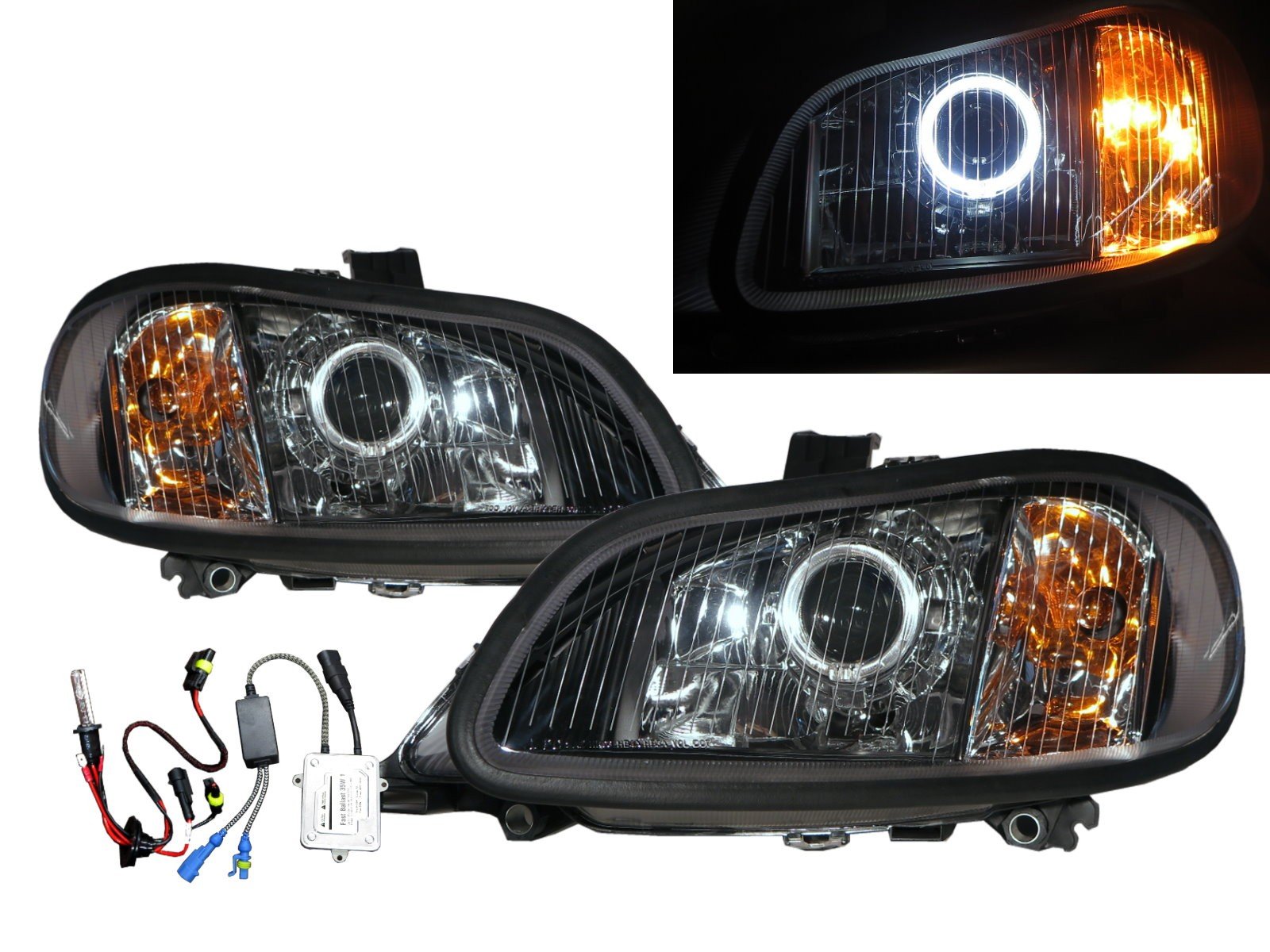 CrazyTheGod M2 2002-Present Truck 2D Guide LED Angel-Eye Projector HID Headlight Headlamp Black for Freightliner LHD