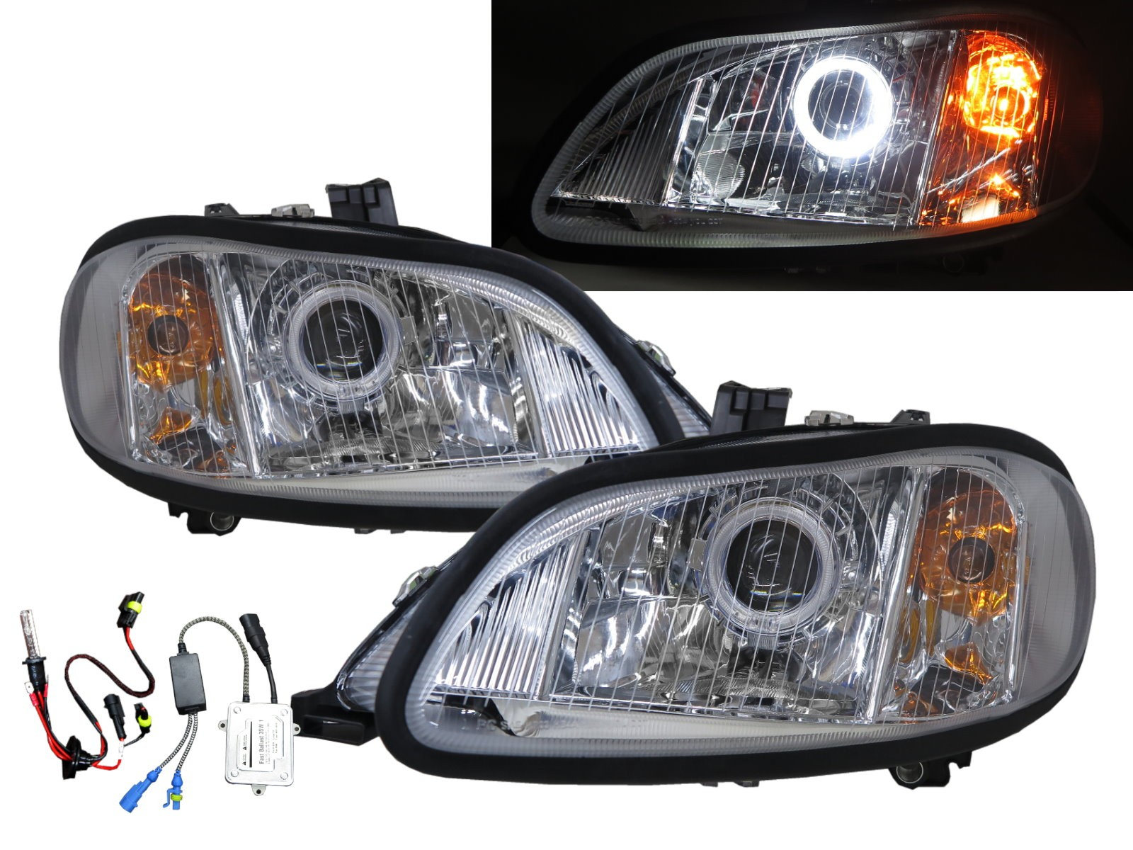 CrazyTheGod M2 2002-Present Truck 2D Guide LED Angel-Eye Projector HID Headlight Headlamp Chrome for Freightliner LHD