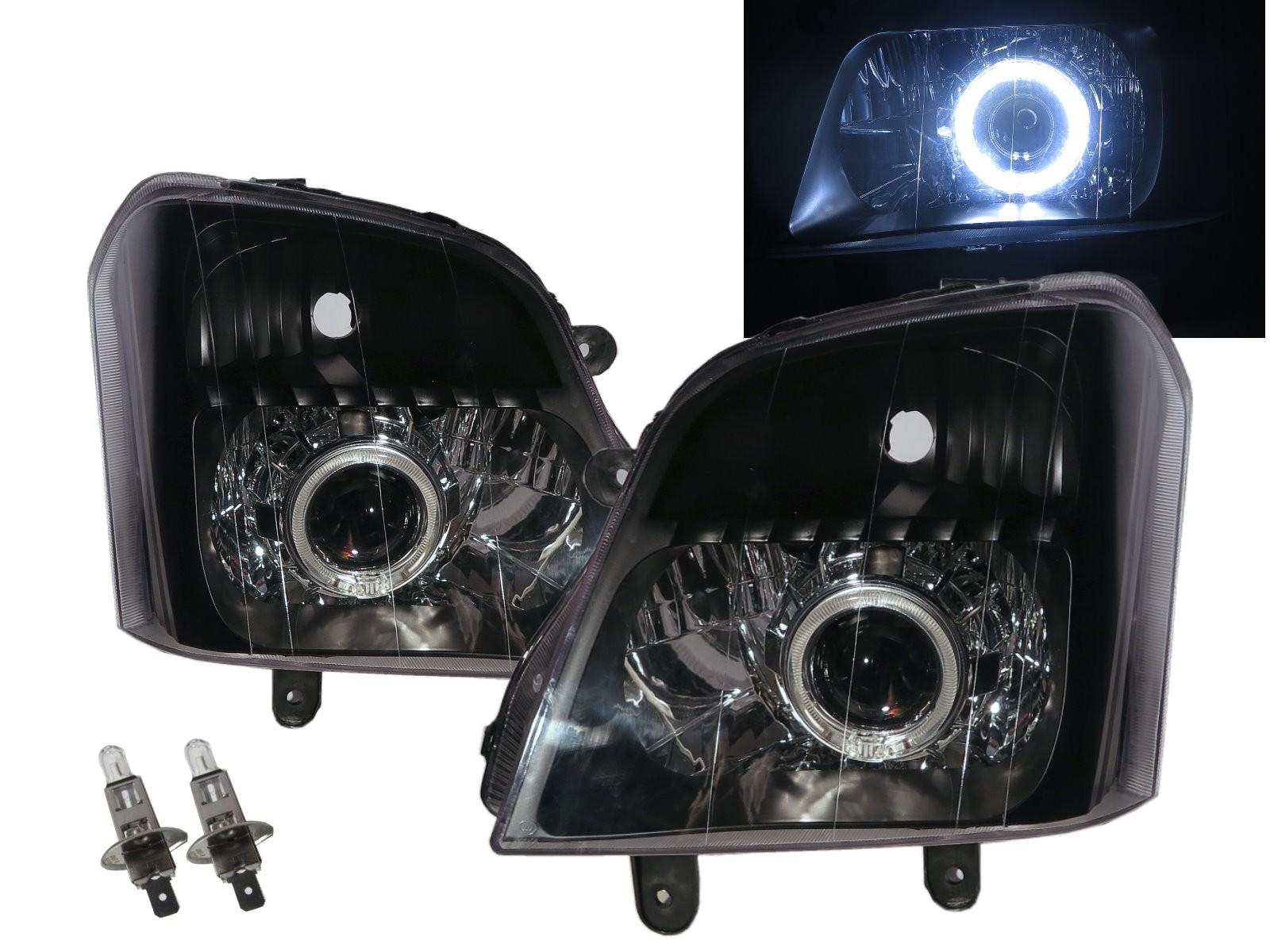 CrazyTheGod Explorer ll Second generation 2003-2010 Pickup 2D/4D Guide LED Angel-Eye Projector Headlight Headlamp Black for Foday RHD