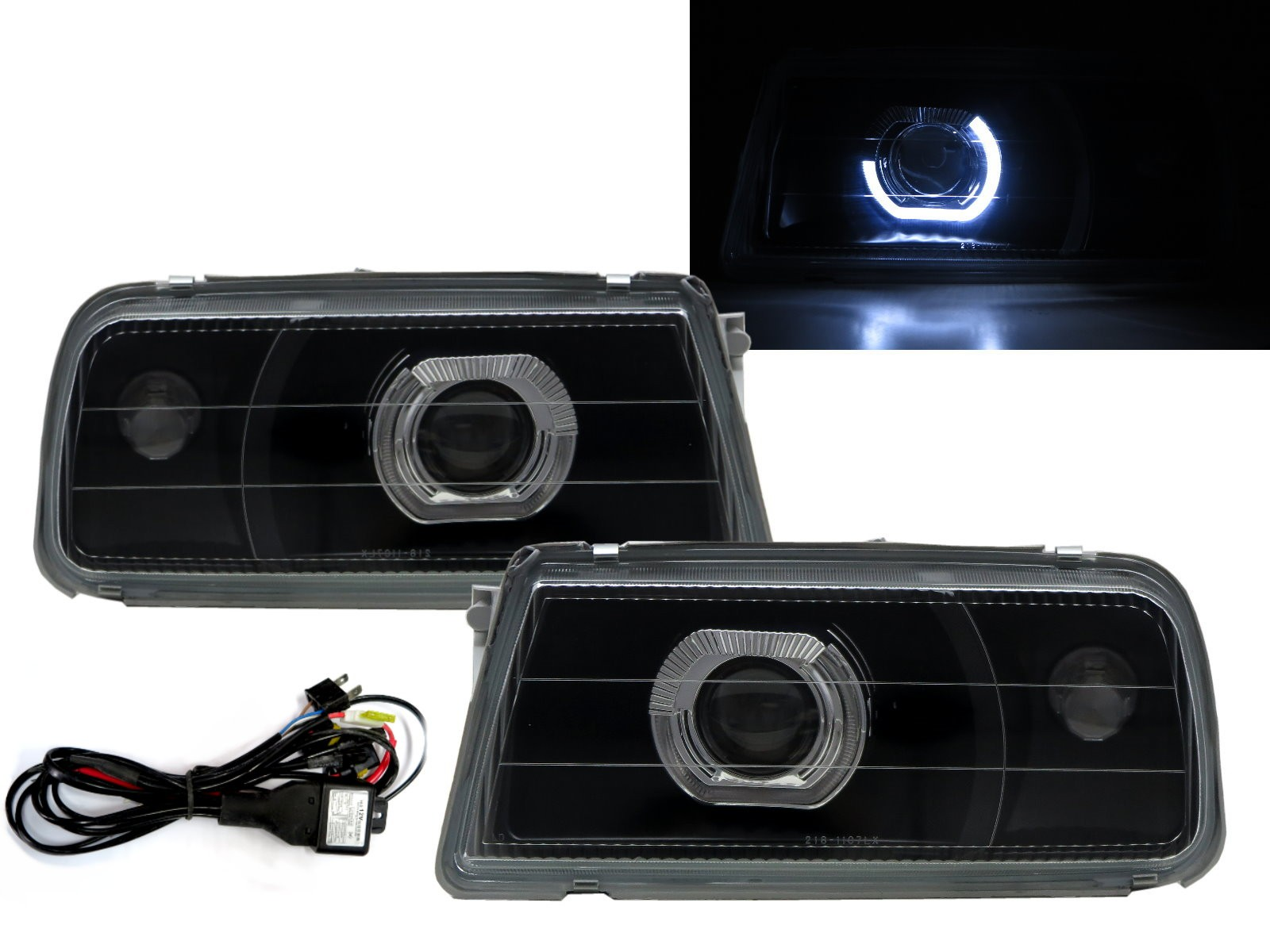 CrazyTheGod Tracker 1988-1998 Convertible 2D Guide LED Angel-Eye Projector Headlight Headlamp Black V2 for GEO RHD