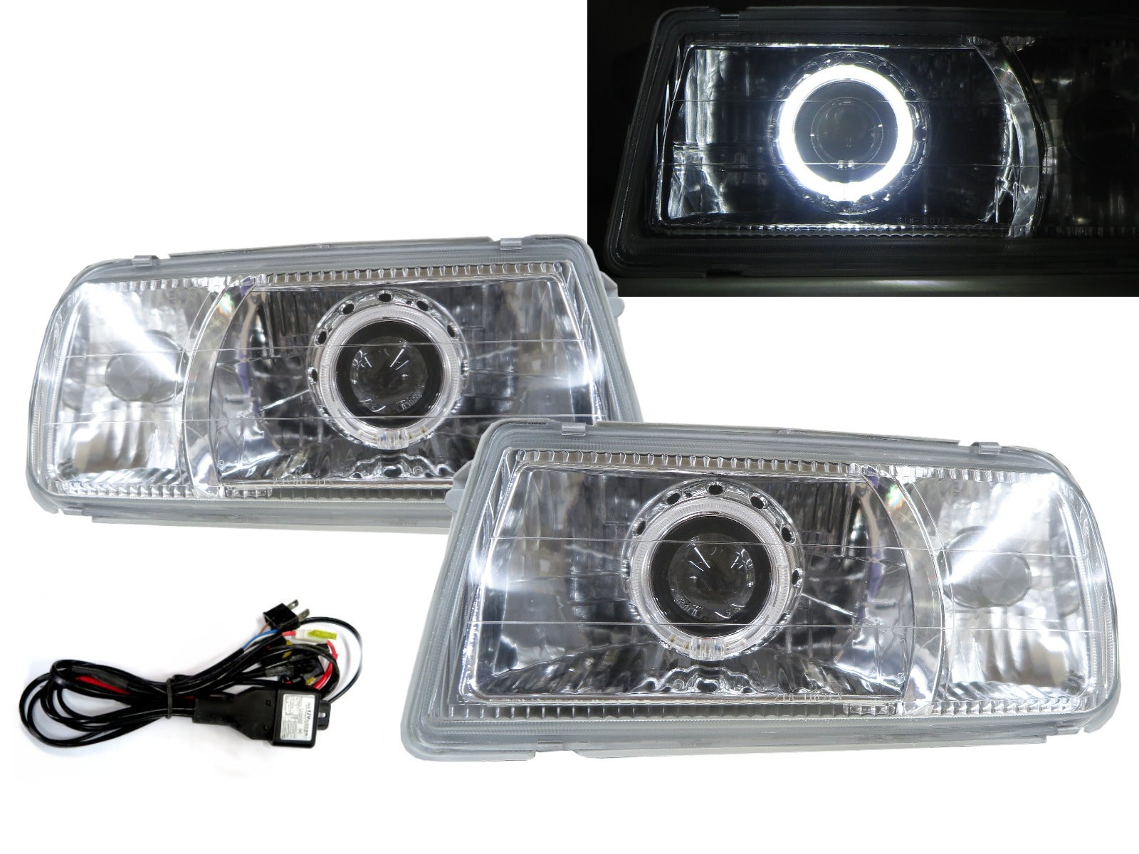 CrazyTheGod Tracker 1988-1998 Convertible 2D Guide LED Angel-Eye Projector Headlight Headlamp Chrome V2 for GEO RHD