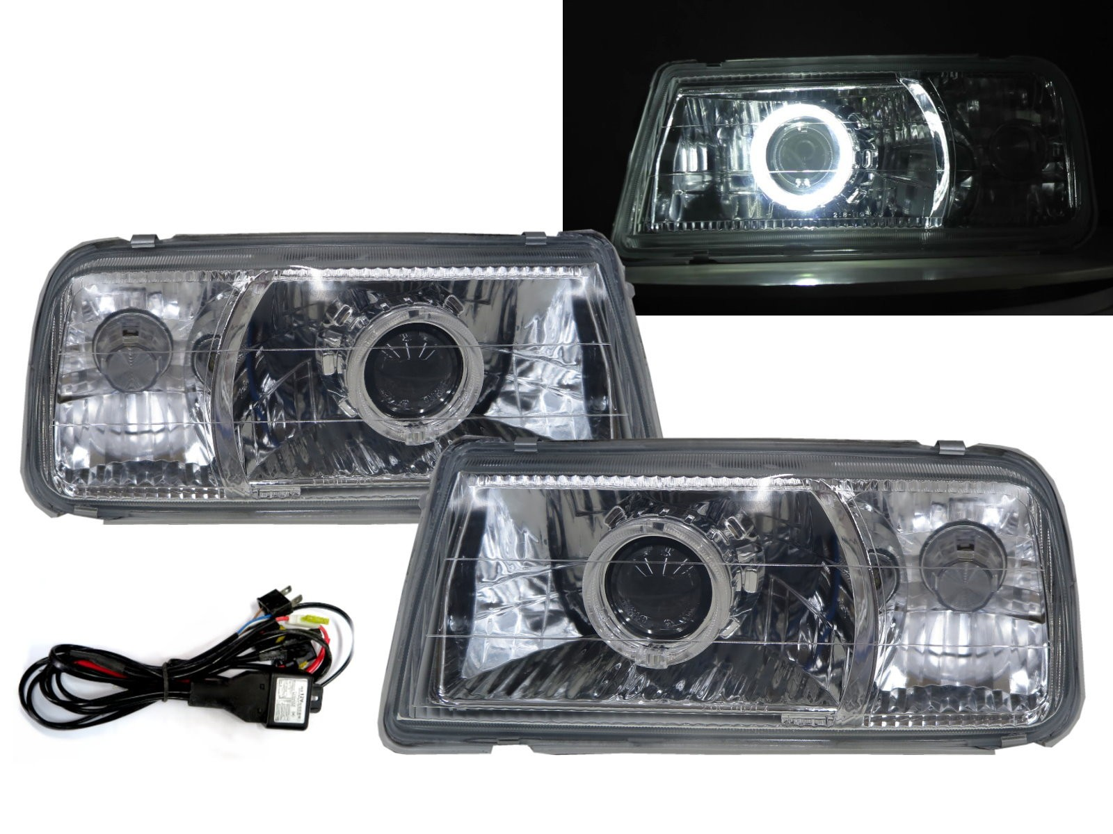 CrazyTheGod Tracker 88-98 Convertible 2D Guide LED Halo Headlight Headlamp Chrome V1 for GEO RHD