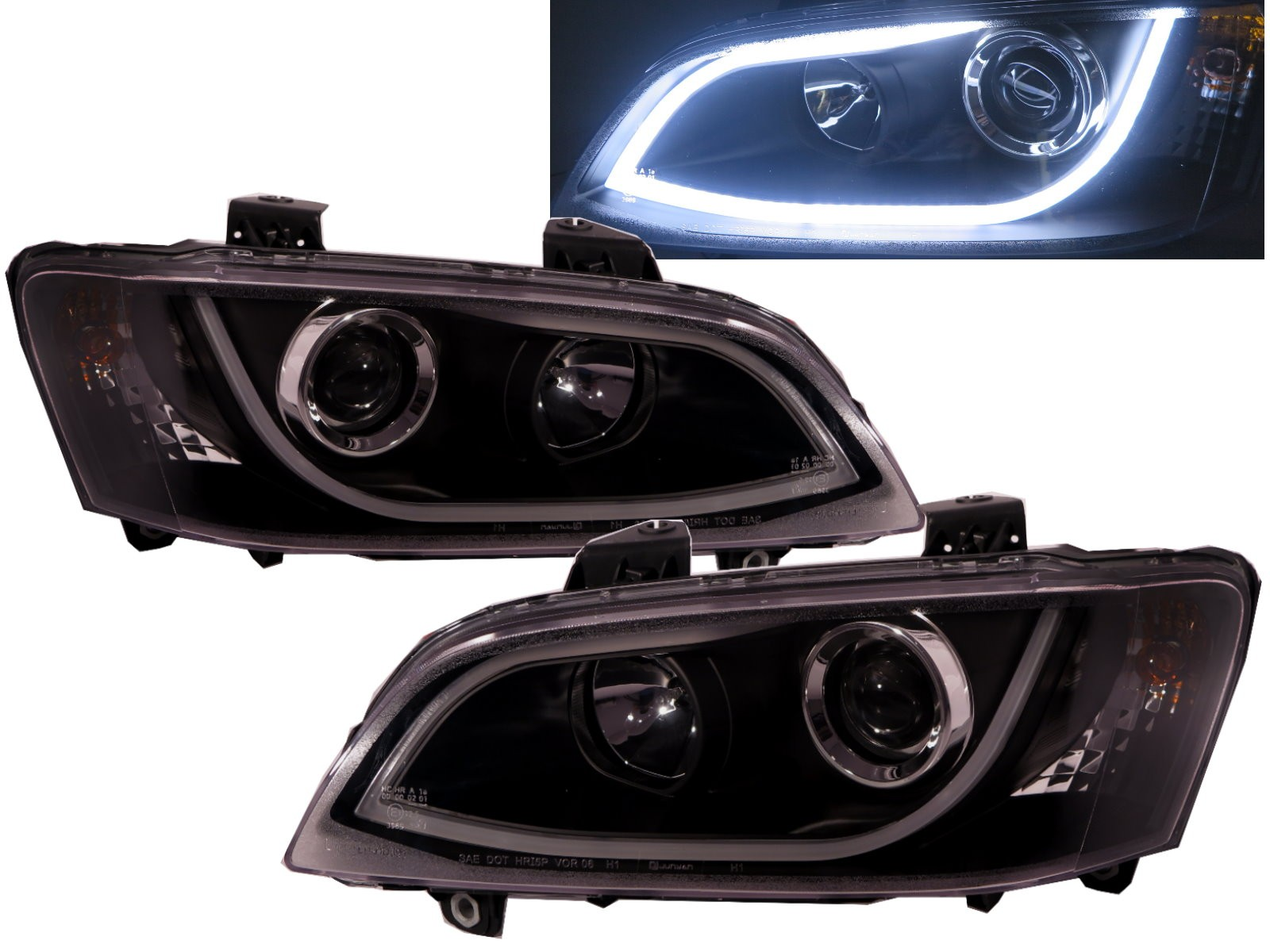 CrazyTheGod Lumina/Omega 2007-2013 Sedan 4D LED Bar R8Look Headlight Headlamp Black V2 for CHEVROLET CHEVY LHD