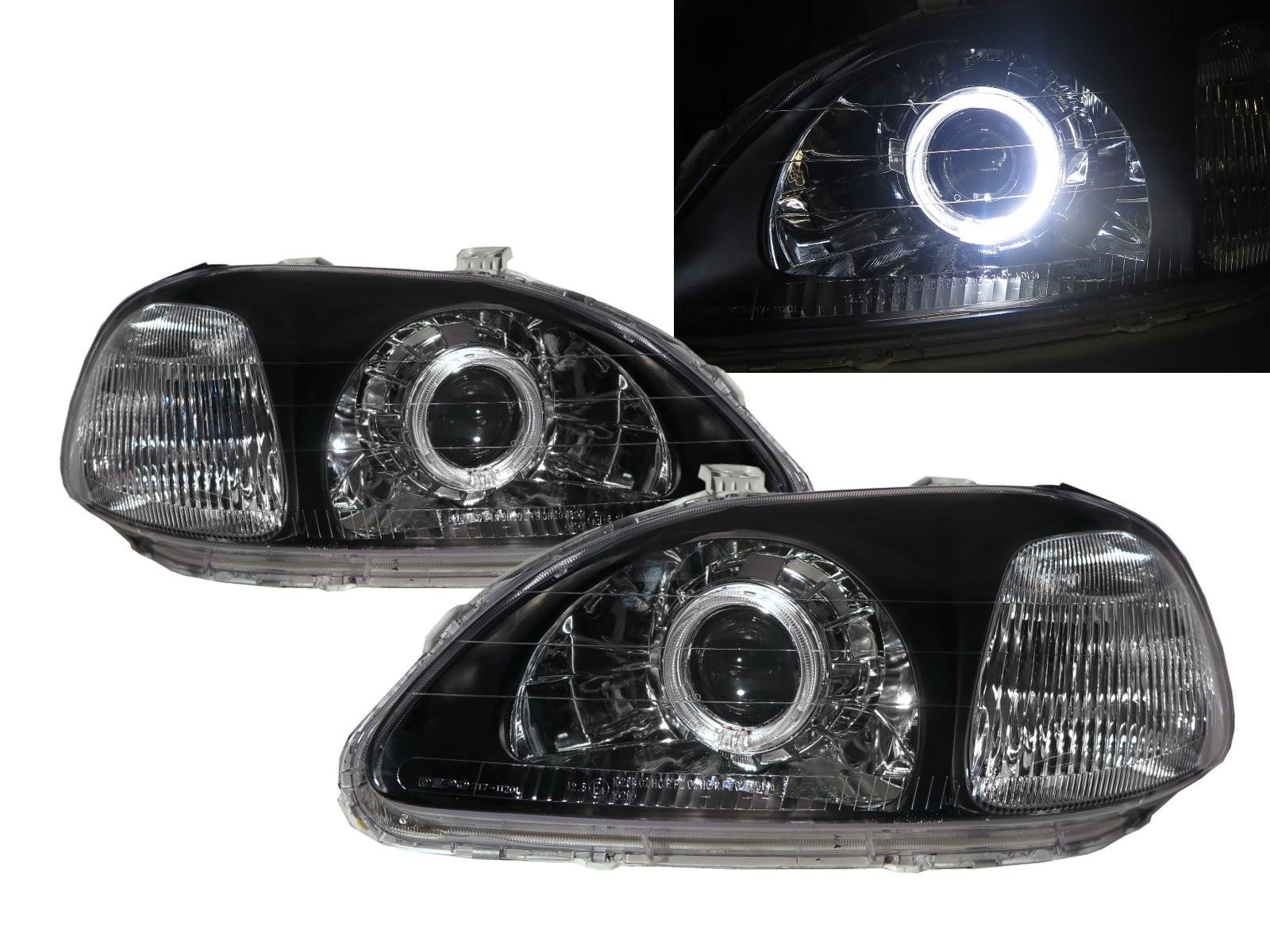 CrazyTheGod Ballade CIVIC EJ/EK/EM Sixth generation 1996-1998 Pre-Facelift Sedan/Hatchback/Coupe 2D/3D/4D/5D Guide LED Angel-Eye Projector Headlight Headlamp Black for HONDA RHD