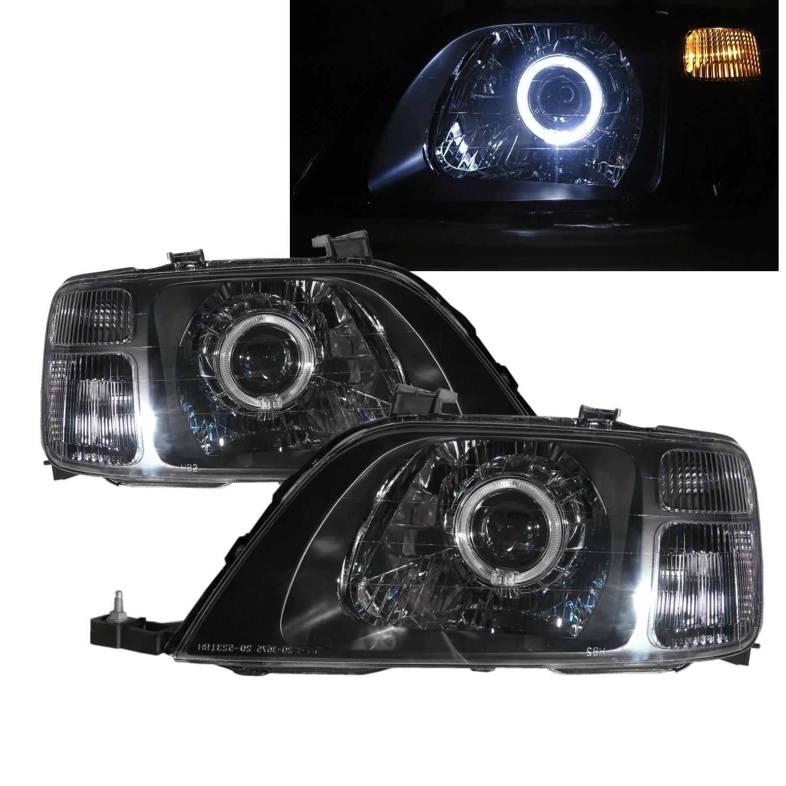 CrazyTheGod CR-V CRV RD1-RD3 First generation 1996-2001 SUV 5D Guide LED Angel-Eye Projector Headlight Headlamp Black for HONDA LHD