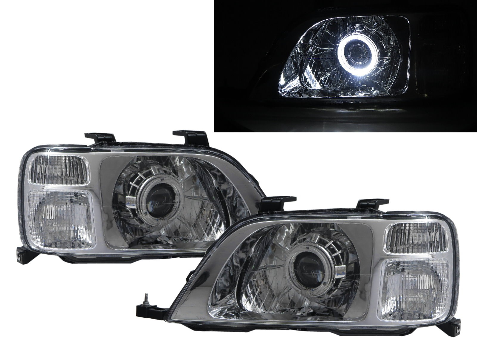 CrazyTheGod CR-V CRV RD1-RD3 First generation 1996-2001 SUV 5D Guide LED Angel-Eye Projector Headlight Headlamp Chrome for HONDA LHD