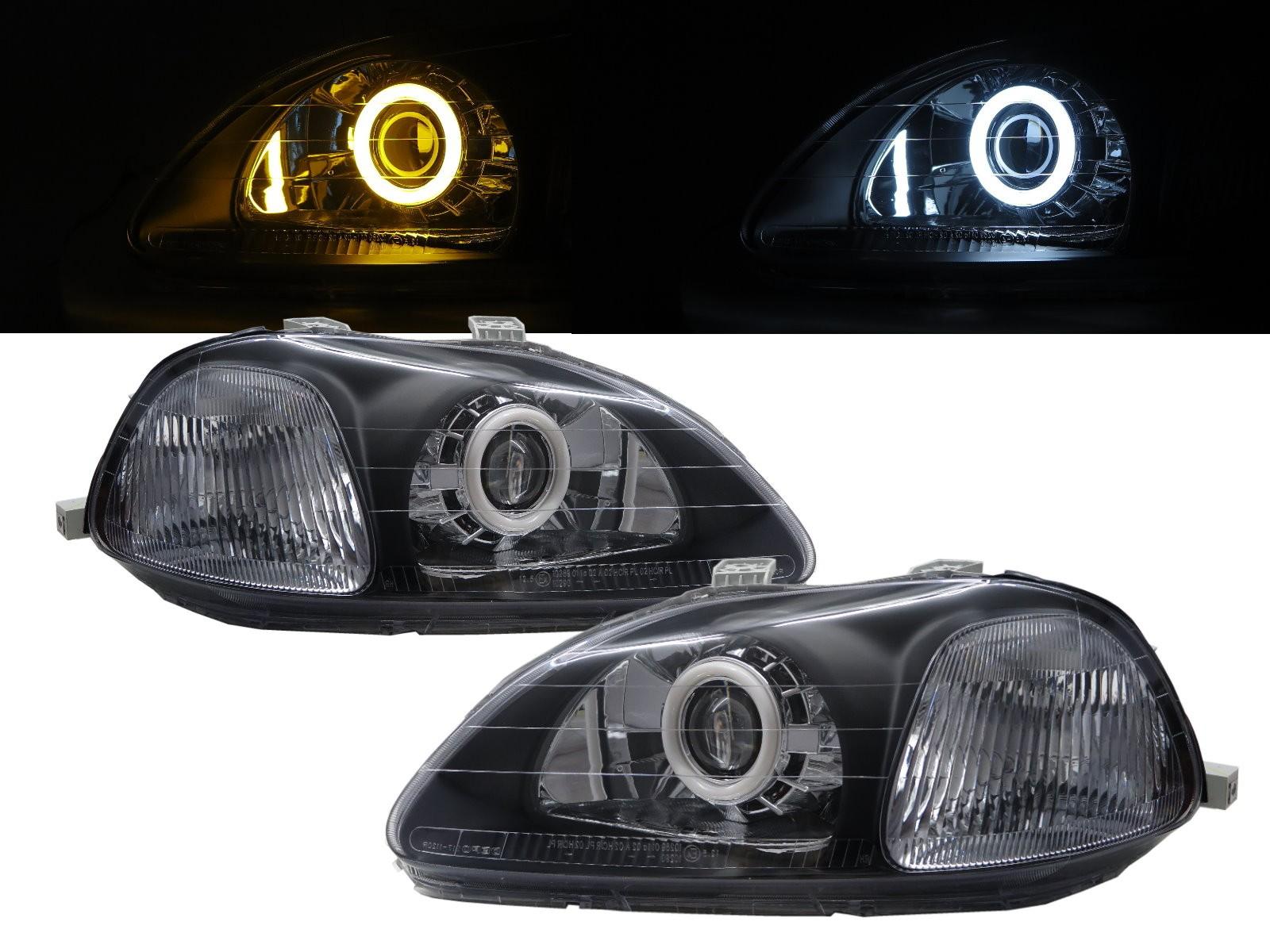 CrazyTheGod Civic EJ/EK/EM Sixth generation 1996-1998 PRE-FACELIFT Sedan/Hatchback/Coupe 2D/3D/4D/5D Cotton Halo Bi-Projector Headlight Headlamp Black for HONDA LHD