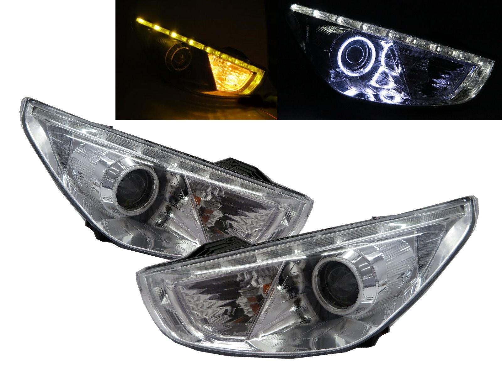 CrazyTheGod IX35 LM First generation 2009-2017 SUV 5D CCFL Projector LED Bar Headlight Headlamp Chrome for HYUNDAI RHD