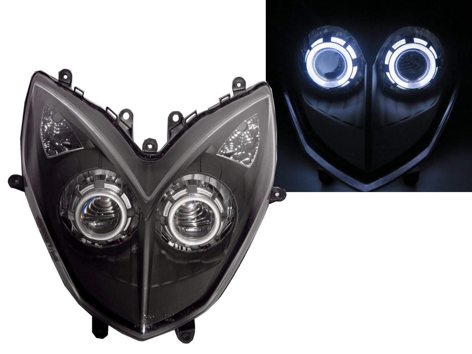 CrazyTheGod Movie 2013-2014 Motorcycles CCFL Projector LED Headlight Headlamp Black for KYMCO