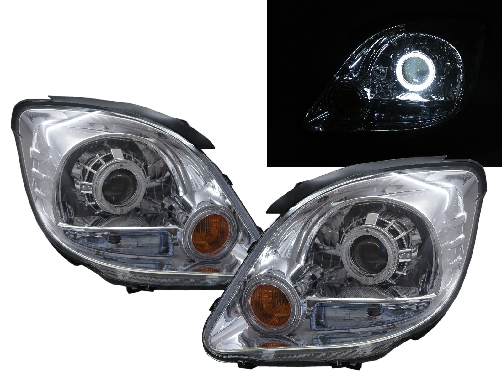 CrazyTheGod Freeca 2004-2008 Wagon/Truck 2D/5D Guide LED Angel-Eye Projector Headlight Headlamp Chrome for Mitsubishi LHD