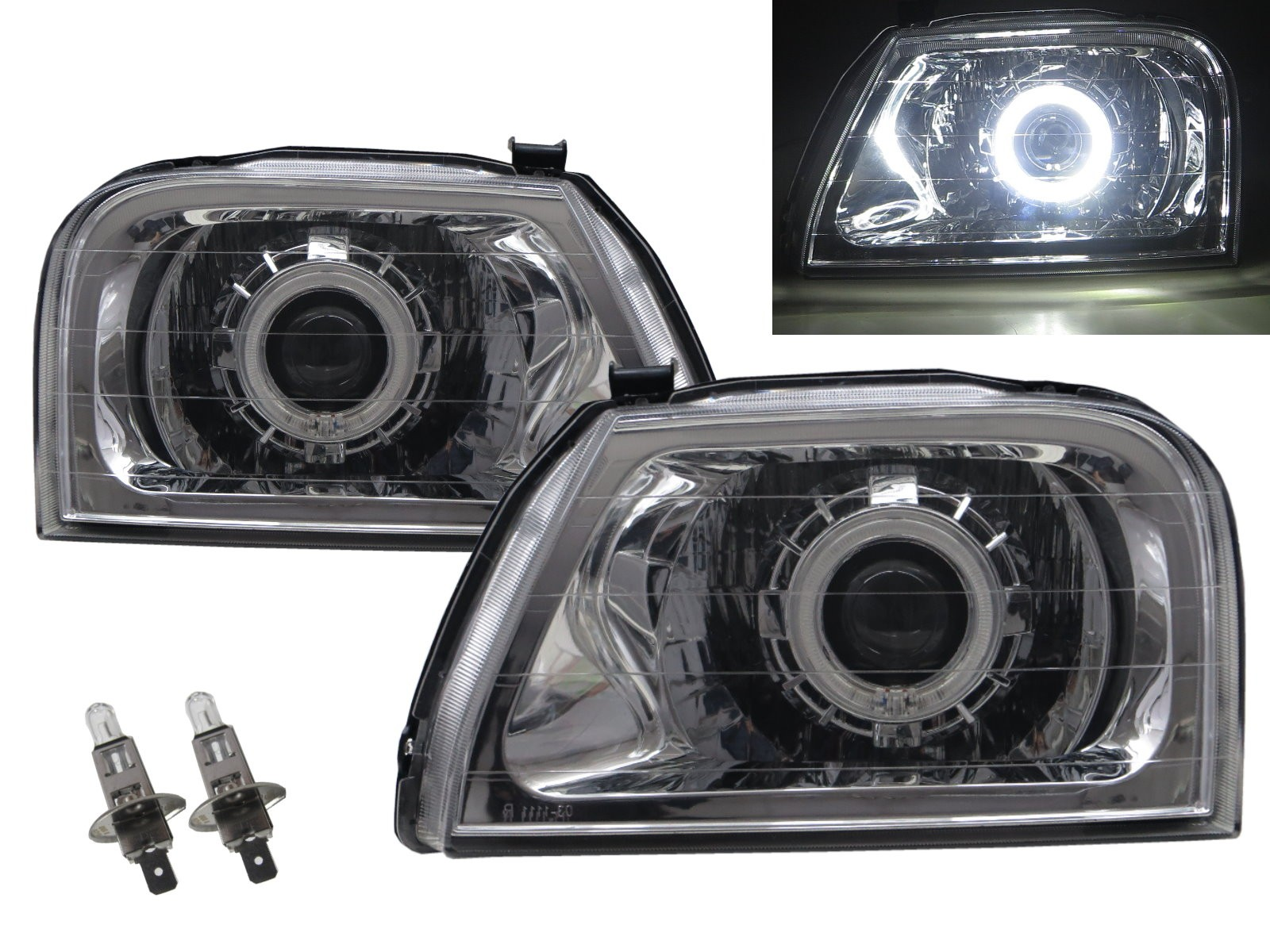 CrazyTheGod L200 First generation 1996-2001 Wagon/Pickup 2D/4D/5D Guide LED Angel-Eye Projector Headlight Headlamp Chrome for Mitsubishi LHD