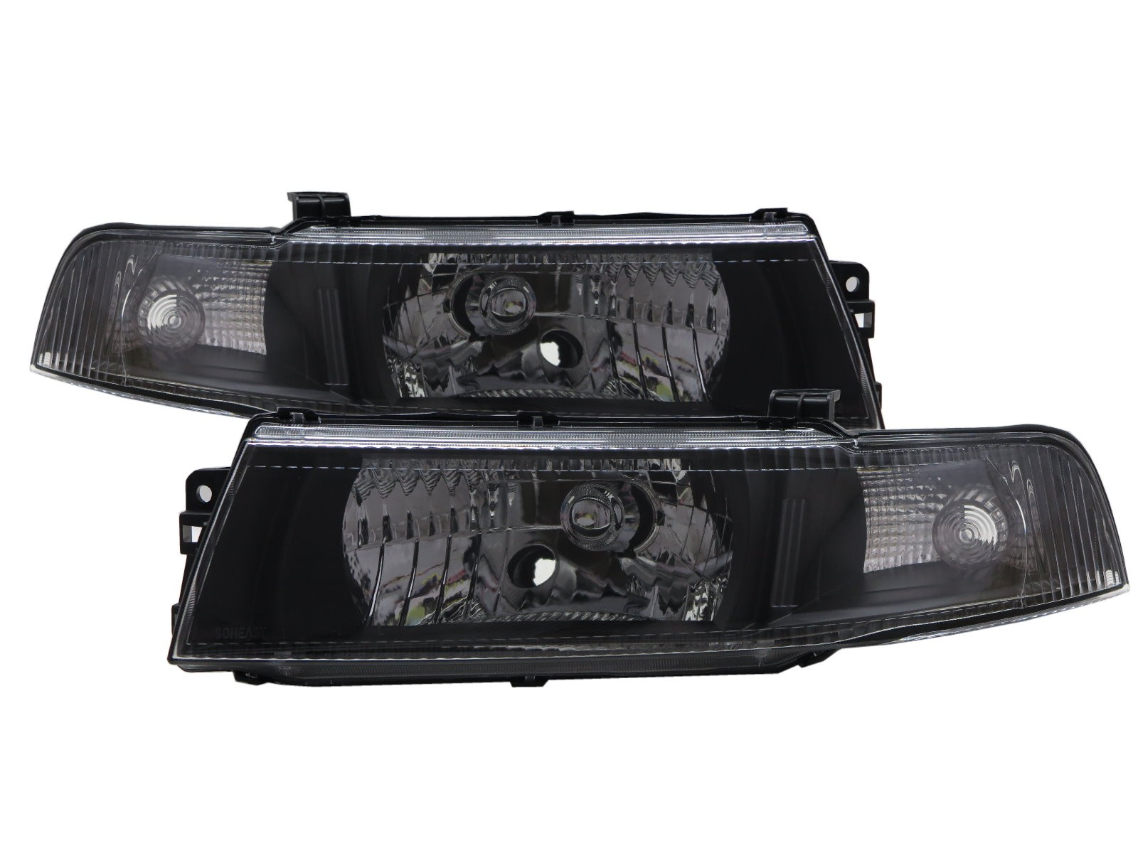 CrazyTheGod LANCER 1998-2001 Sedan 4D Clear Headlight Headlamp Black for Mitsubishi LHD