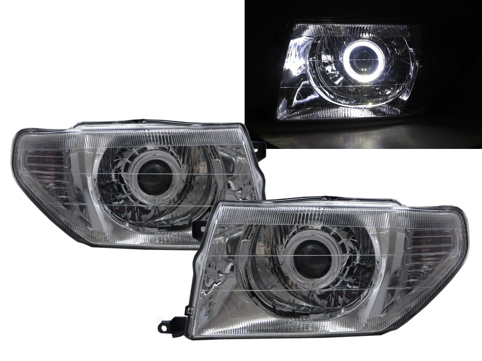 CrazyTheGod Montero iO 1998-2015 SUV 3D/5D Guide LED Angel-Eye Projector Headlight Headlamp Chrome for Mitsubishi LHD