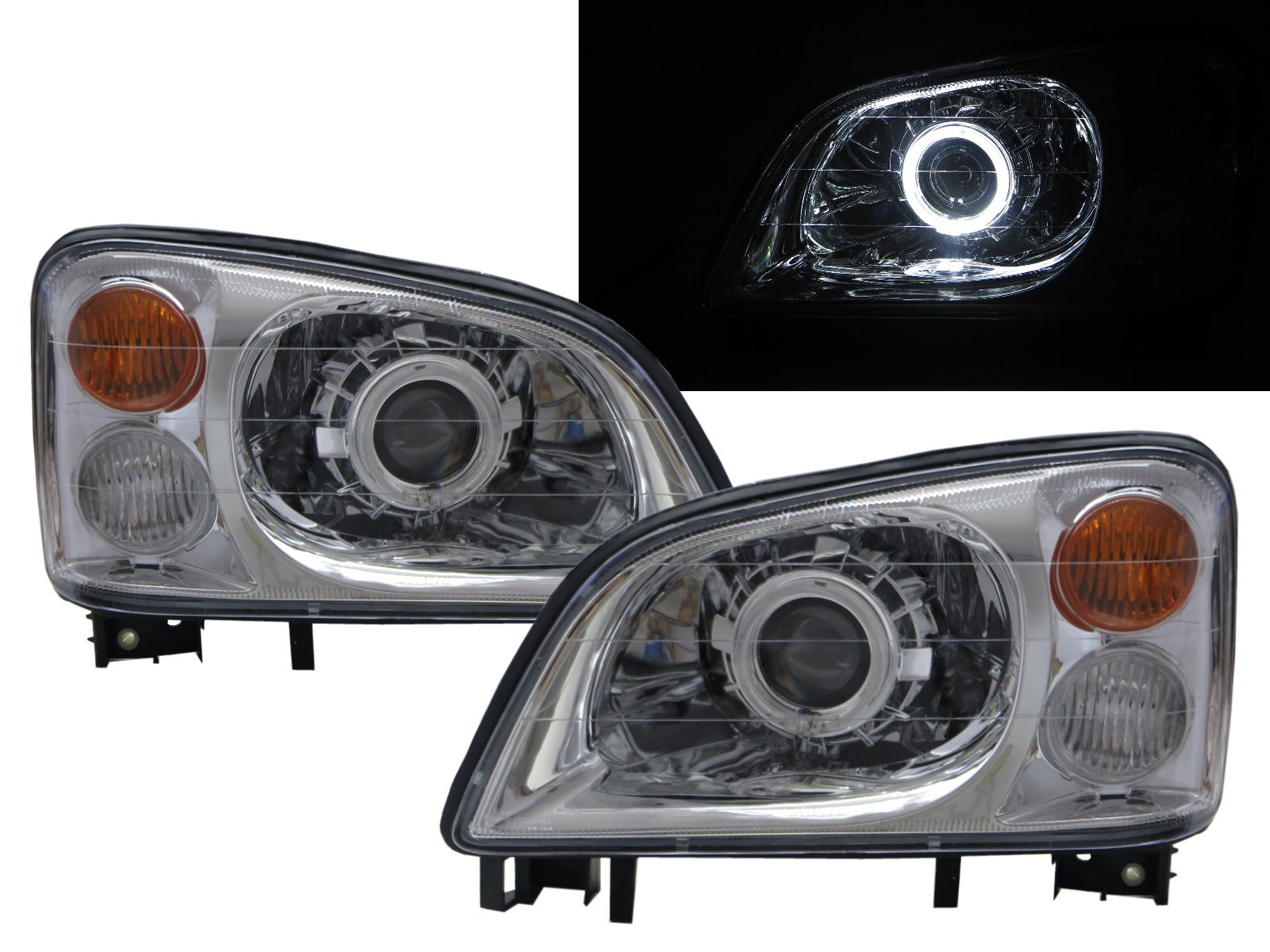 CrazyTheGod Veryca 2000-2009 Truck 2D/4D Guide LED Angel-Eye Projector Headlight Headlamp Chrome for Mitsubishi LHD