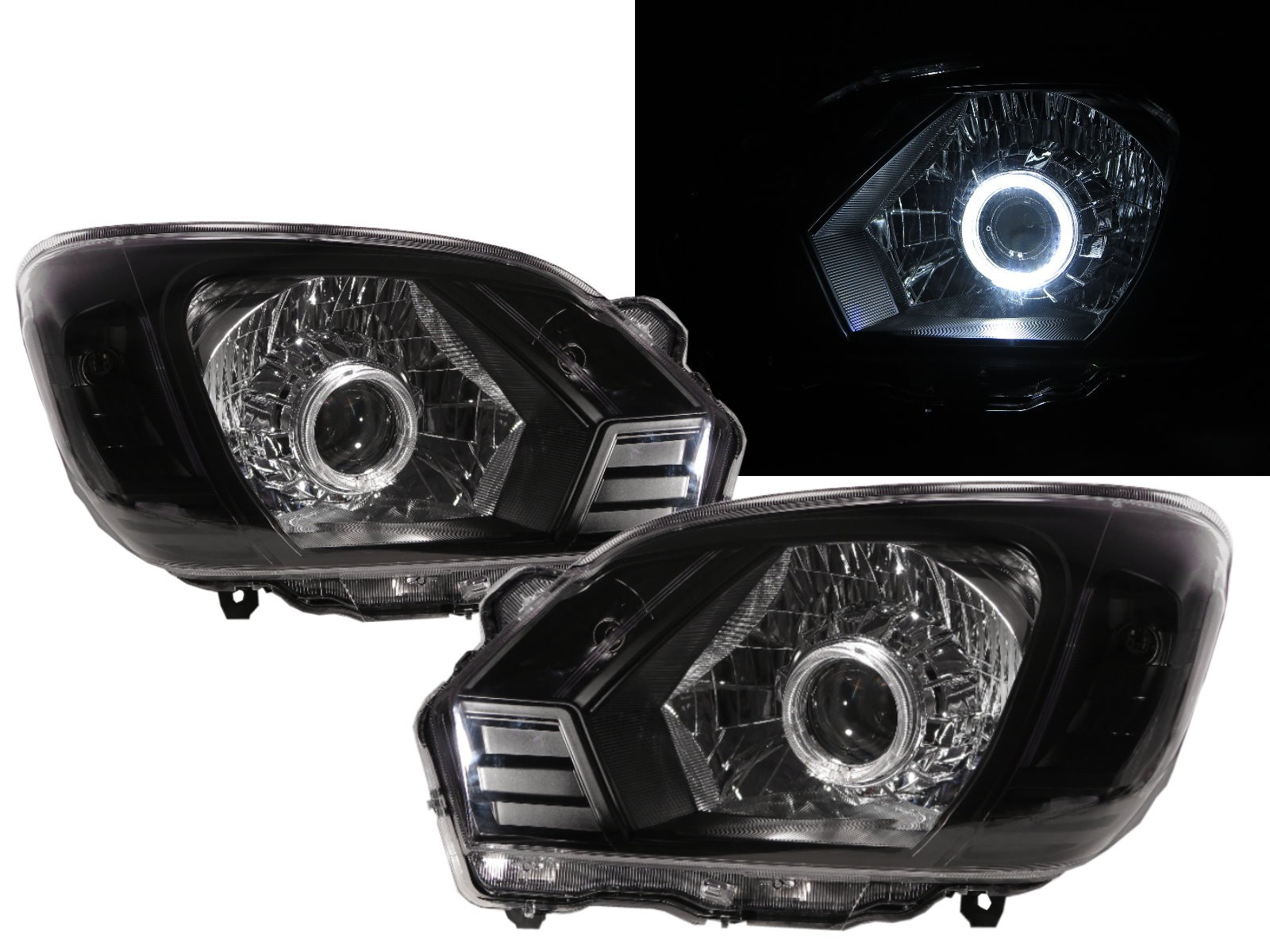 CrazyTheGod Veryca 2013-present Truck 2D/4D Guide LED Angel-Eye Headlight Headlamp Black for Mitsubishi RHD