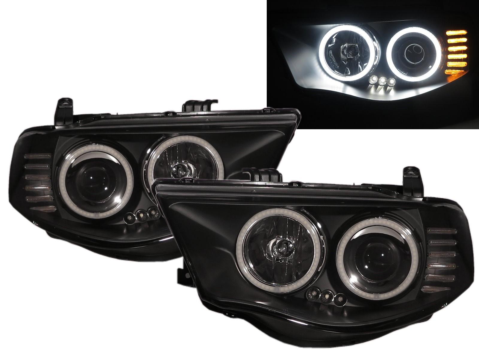 CrazyTheGod WARRIOR 2005-2014 Pickup Truck/Ute/Bakkie 2D/4D LED Halo Projector Headlight Headlamp Black for Mitsubishi RHD