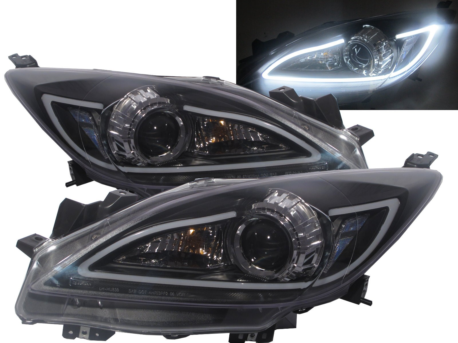 CrazyTheGod Mazda3/Axela BL Second generation 2009-2013 Sedan/Hatchback 4D/5D Projector R8Look Headlight Headlamp Black US V1 for MAZDA LHD