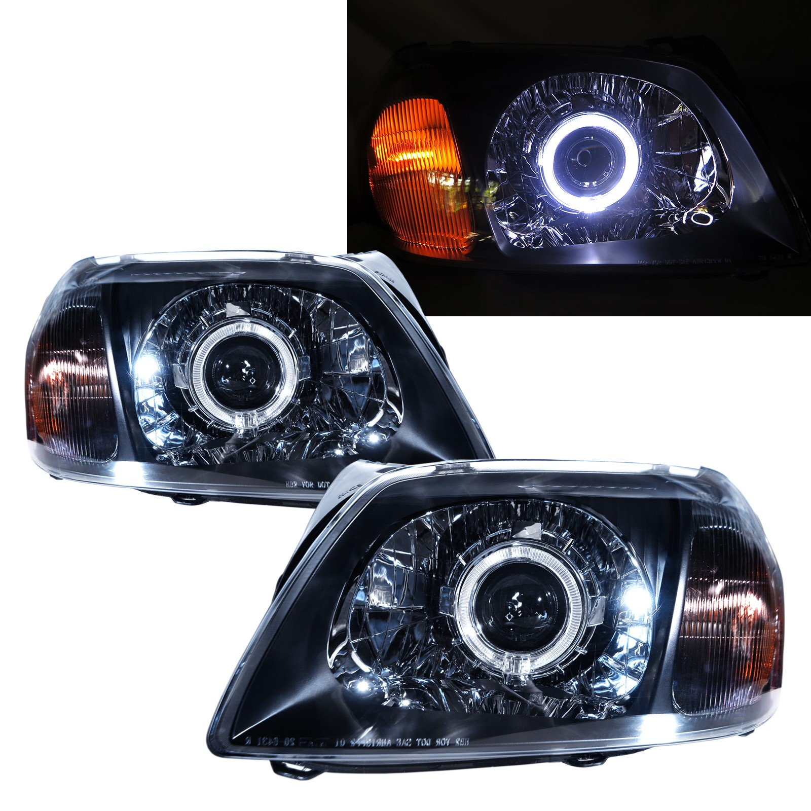 CrazyTheGod Tribute First generation 2001-2006 SUV 5D Guide LED Angel-Eye Projector Headlight Headlamp Black for MAZDA RHD