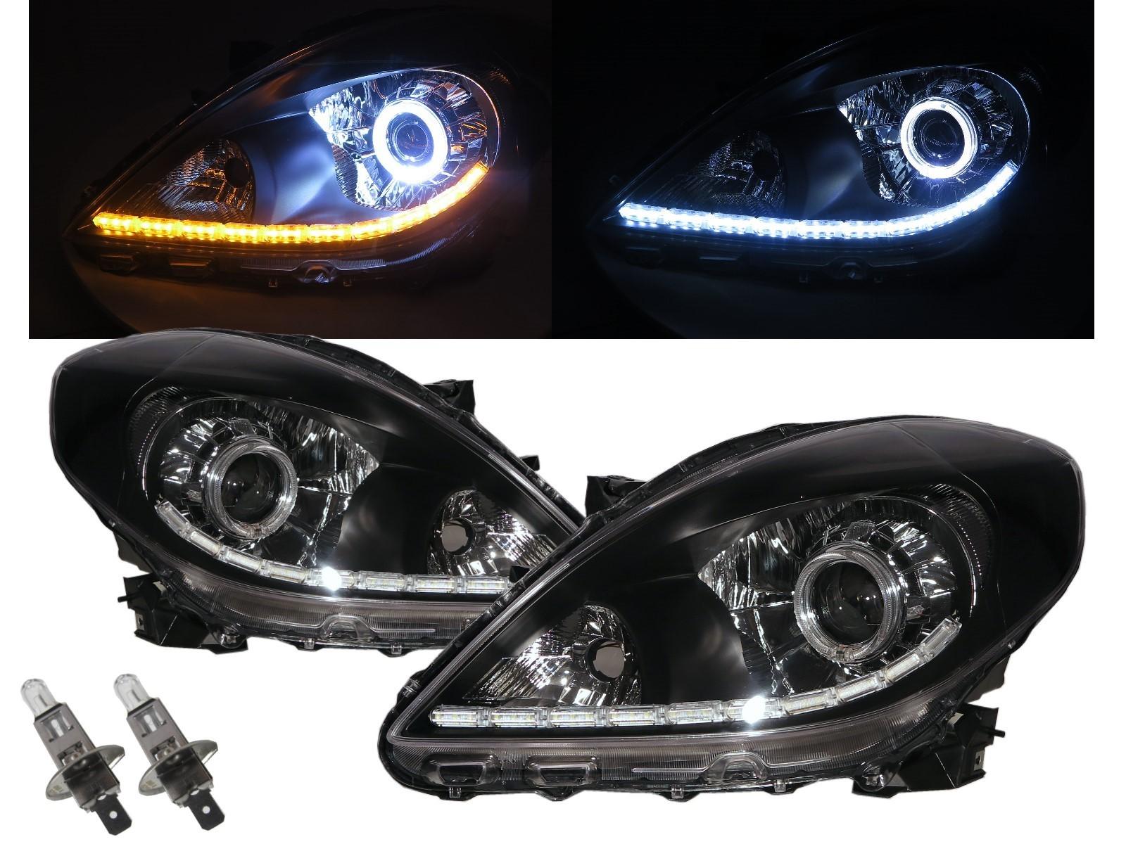 CrazyTheGod Almera N17 Third generation 2011-Present Sedan 4D Guide LED Halo LED Bar Headlight Headlamp Black for NISSAN LHD
