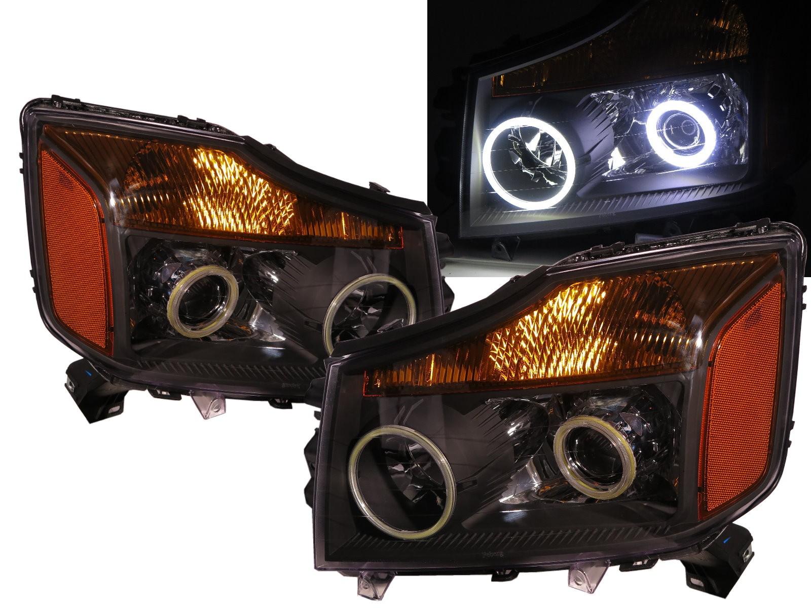 CrazyTheGod Armada WA60 First generation 2004-2007 SUV COB Projector Headlight Headlamp Black for NISSAN RHD