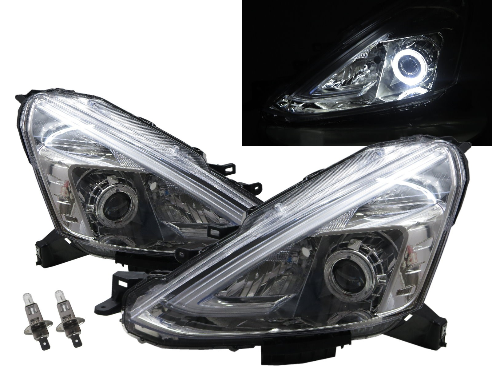 CrazyTheGod Grand Livina L11 Second generation 2013-Present MPV 5D Guide LED Angel-Eye Projector Headlight Headlamp W/ Motor Chrome for NISSAN LHD