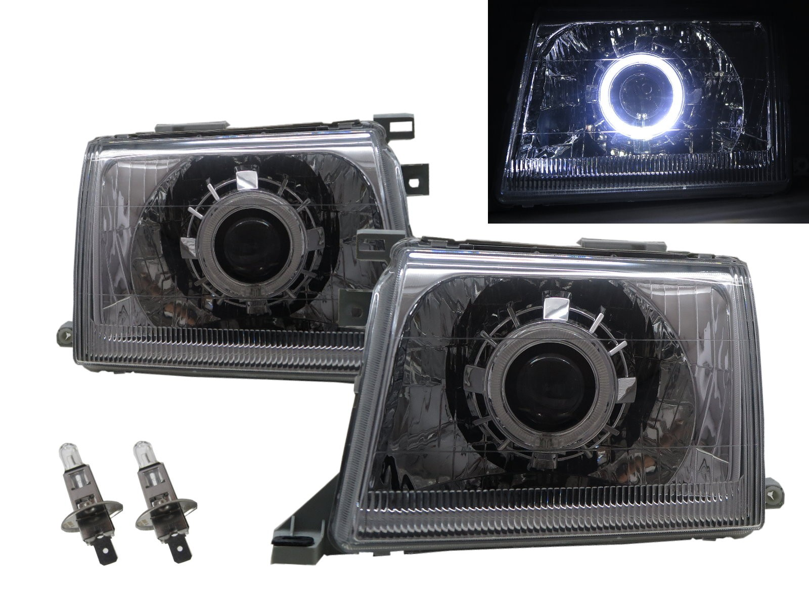 CrazyTheGod Pick UP D22 First generation 2000-2001 Facelift Truck 2D/4D Guide LED Angel-Eye Projector Headlight Headlamp Chrome for NISSAN RHD