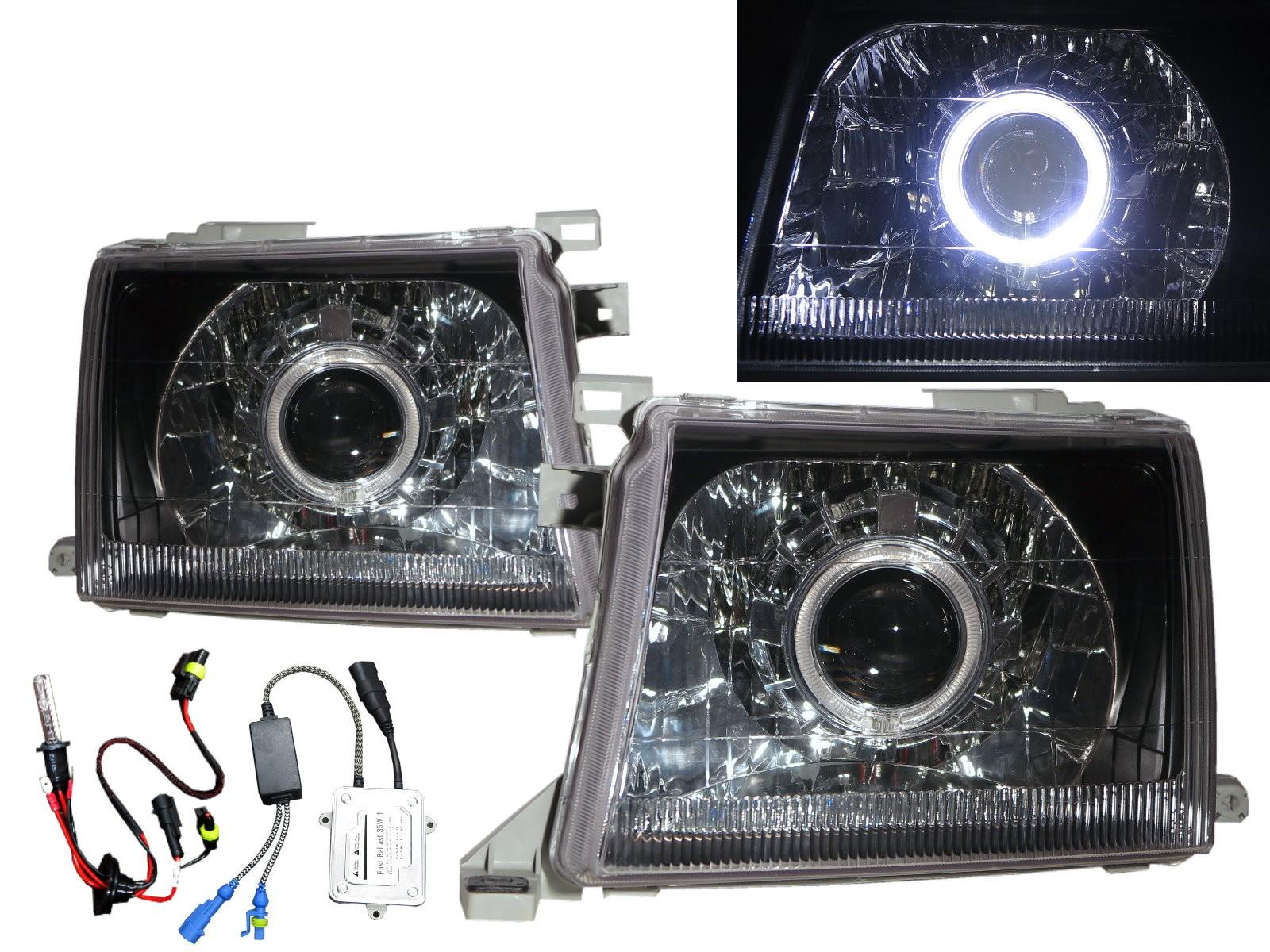 CrazyTheGod Winner D22 First generation 2000-2001 Facelift Truck 2D/4D Guide LED Angel-Eye Projector HID Headlight Headlamp Black for NISSAN RHD