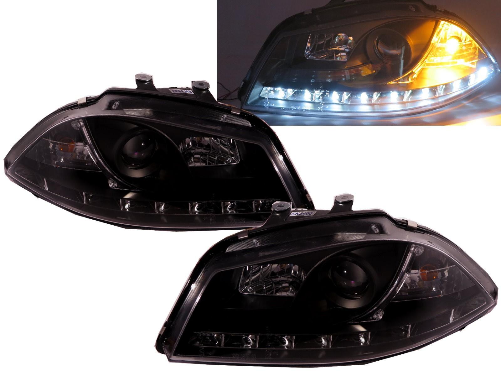 CrazyTheGod IBIZA 2002-2006 6L Projector Headlight LED DRL R8Look BLACK for SEAT RHD