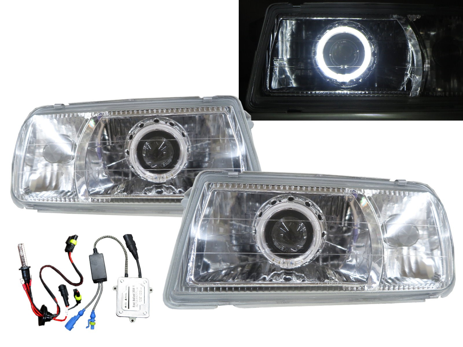 CrazyTheGod Escudo ET/TA First generation 1988-1998 Convertible/SUV 2D/3D/5D Guide LED Angel-Eye Projector Headlight Headlamp Chrome V2 for SUZUKI RHD
