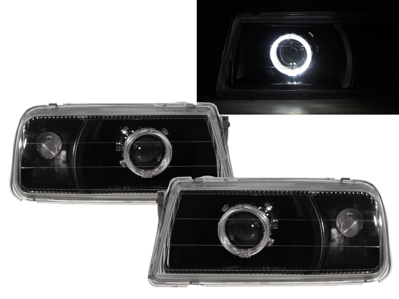 CrazyTheGod VITARA ET/TA First generation 1988-1998 Convertible/SUV 2D/3D/5D Guide LED Angel-Eye Projector Headlight Headlamp Black V1 for SUZUKI RHD