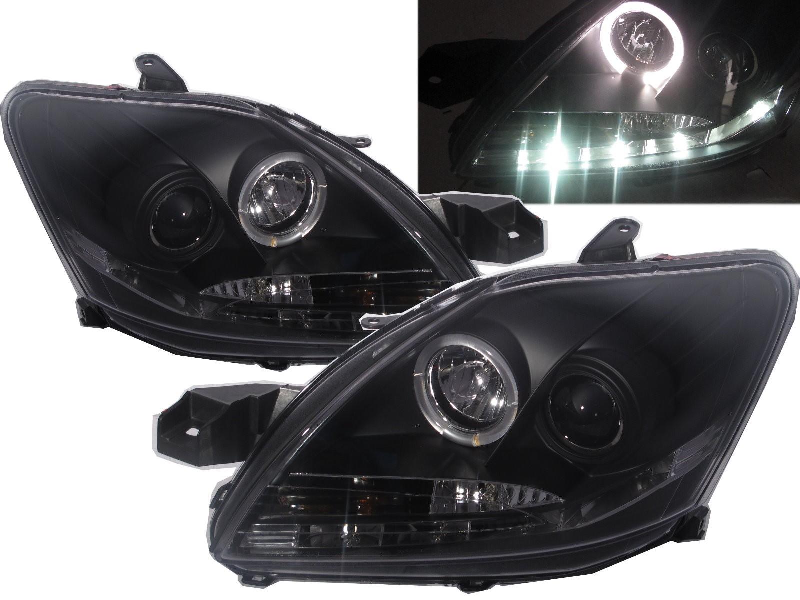 CrazyTheGod Belta XP90 Second generation 2009-2013 FACELIFT Sedan 4D Angel-Eye Projector R8Look Headlight Headlamp Black V1 for TOYOTA LHD